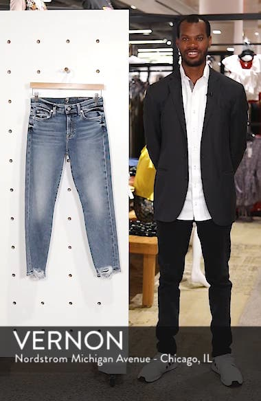 Luxe Vintage Roxanne Rip Hem Ankle Slim Jeans, sales video thumbnail