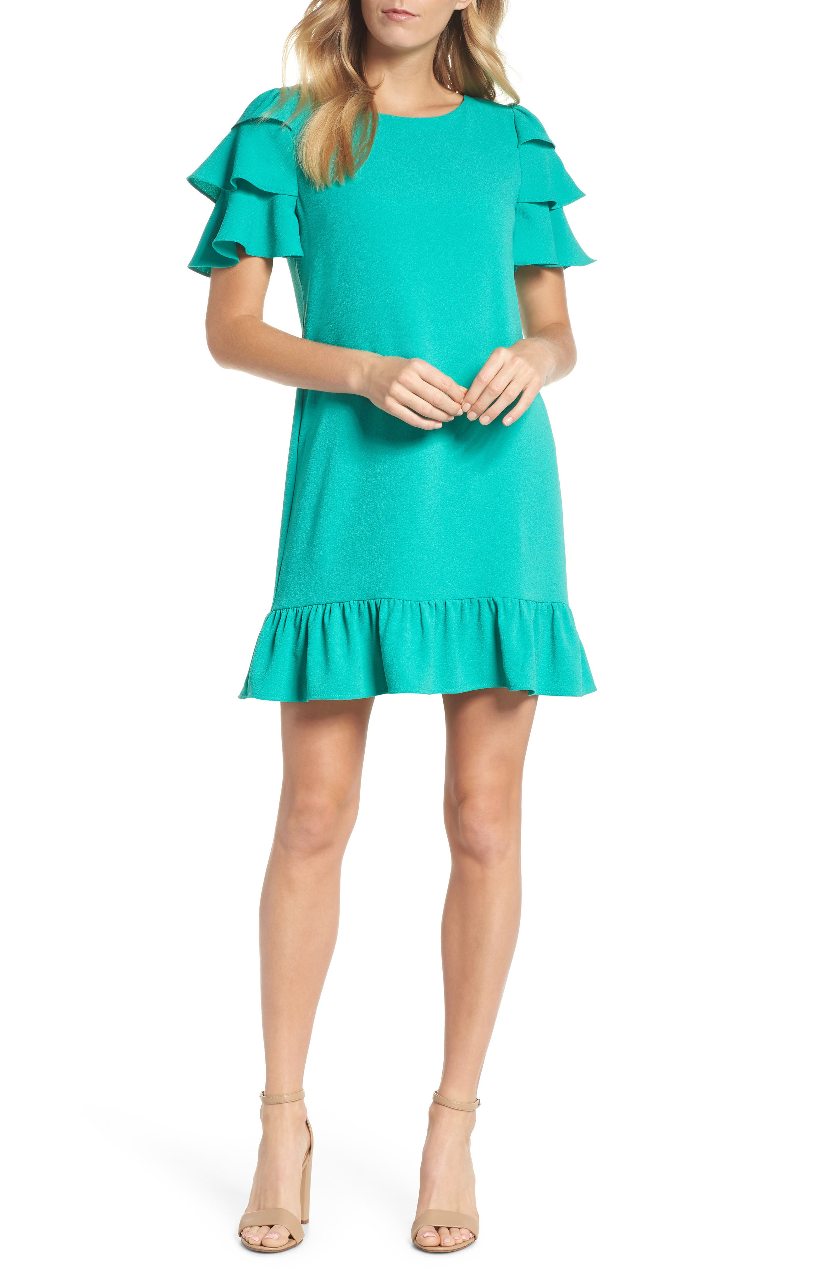 Tiered Ruffle Shift Dress,                         Main,                         color, 320