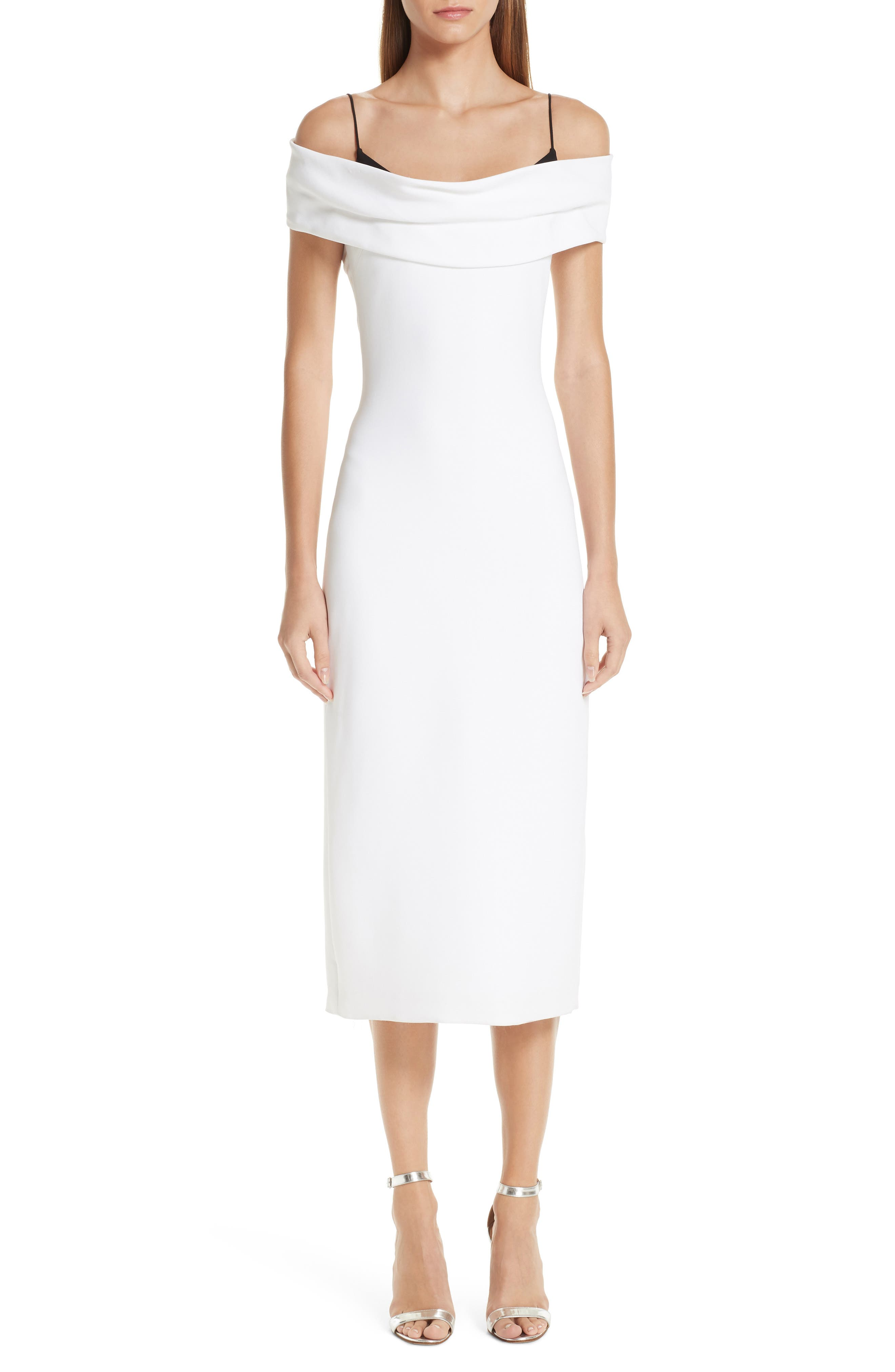 Two-Tone Off-The-Shoulder Stretch-Cady Pencil Dress in White/ Black