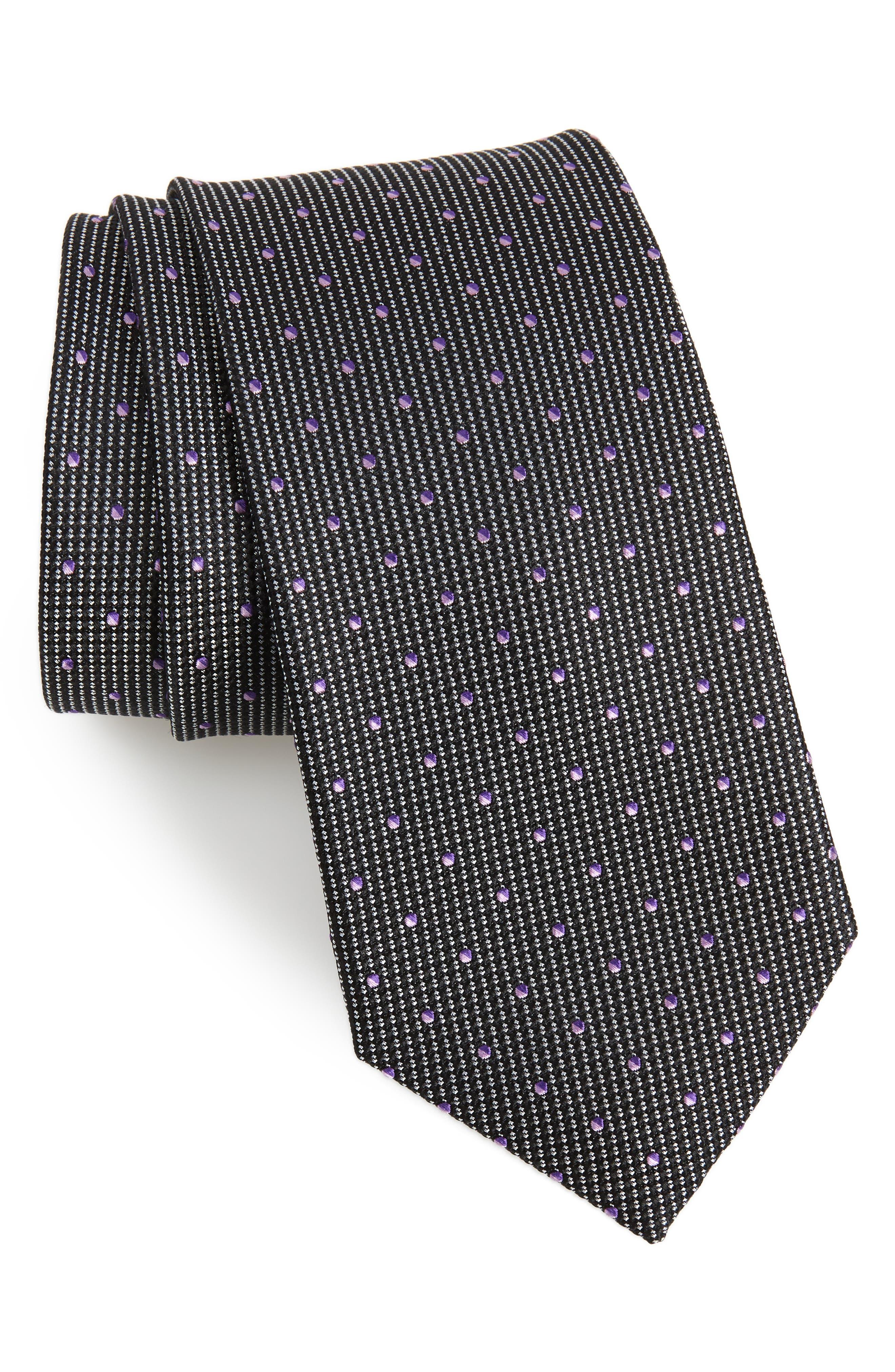 Locarno Dot Silk Tie, Main, color, BLACK