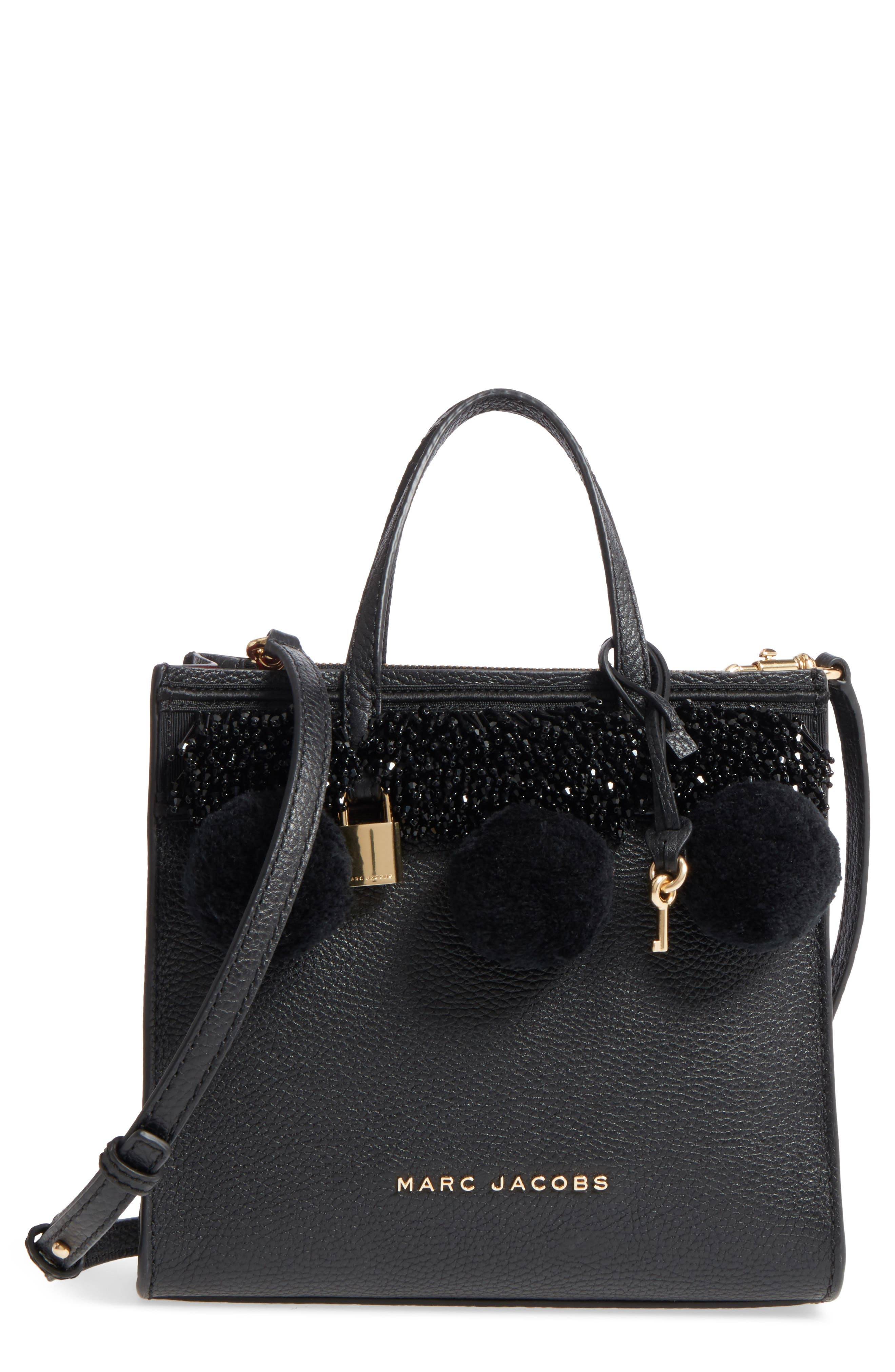 The Grind Mini Pompom Leather Tote,                             Main thumbnail 1, color,                             001
