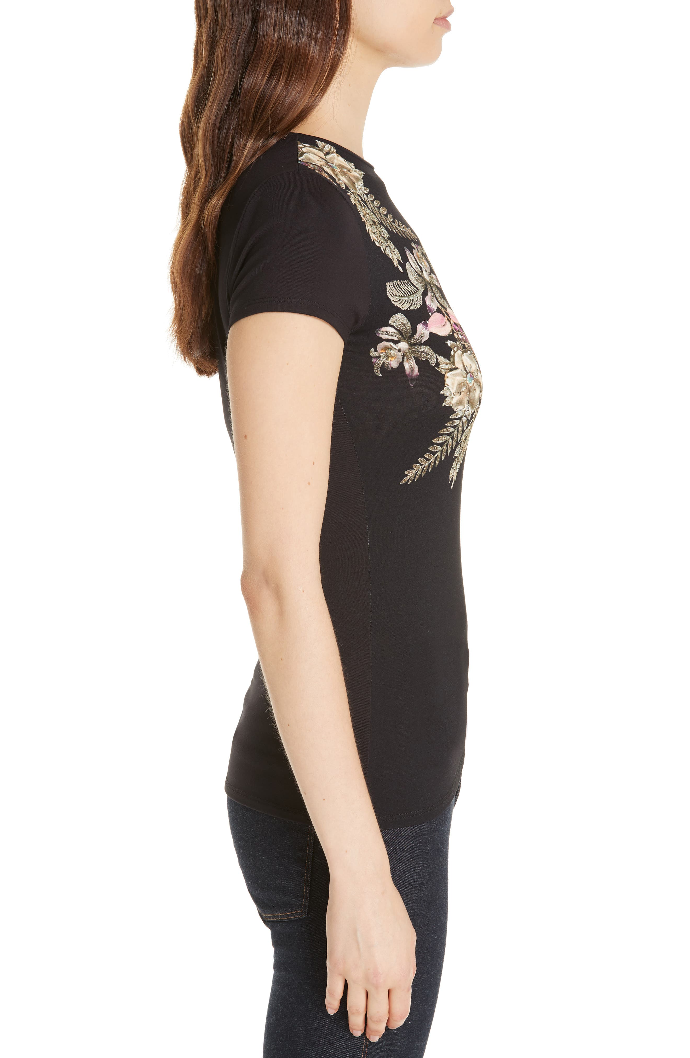 Hallie Pirouette Fitted Tee,                             Alternate thumbnail 3, color,                             BLACK