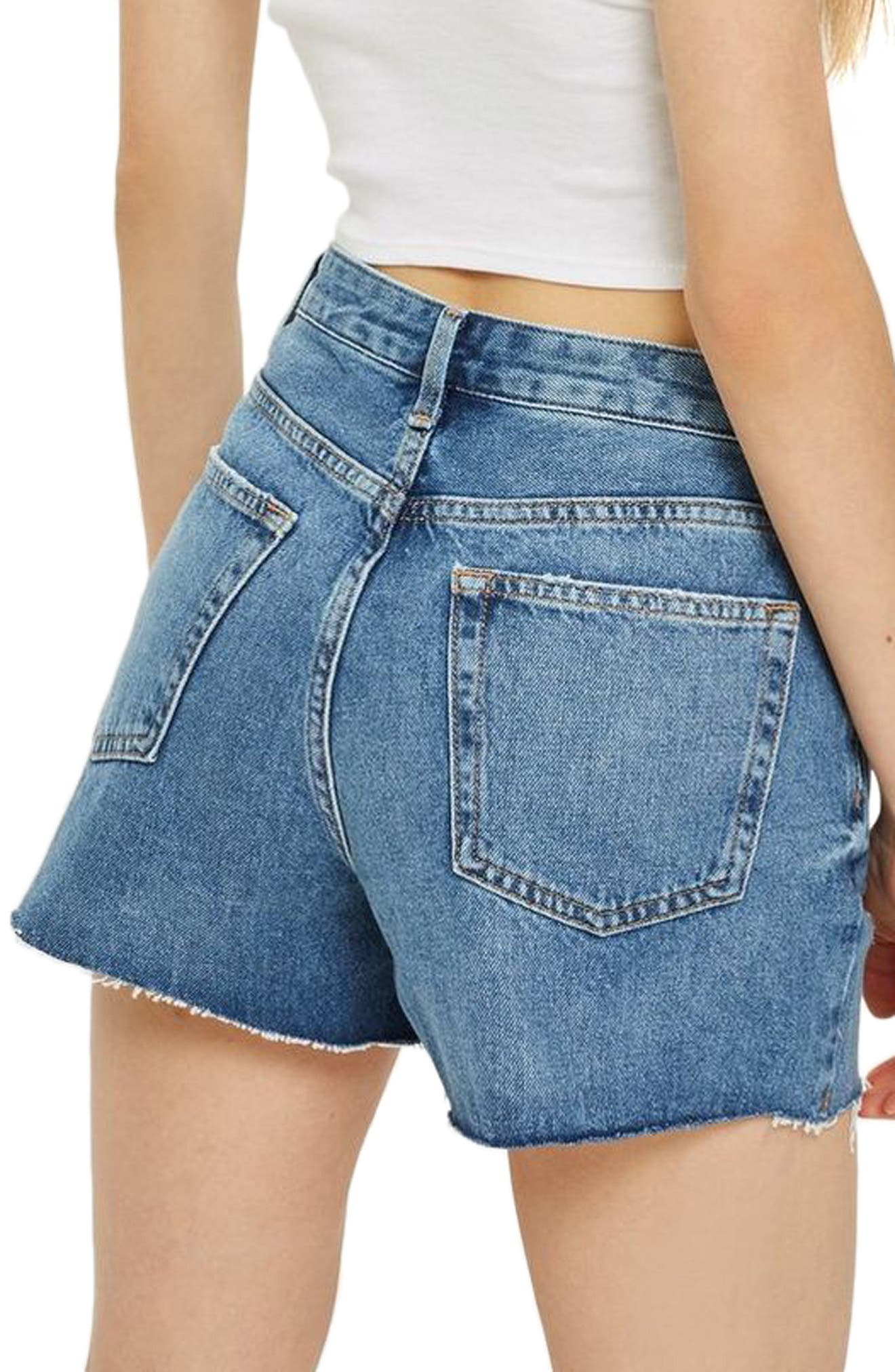Ashley Ripped Boyfriend Shorts,                             Alternate thumbnail 2, color,                             MID DENIM