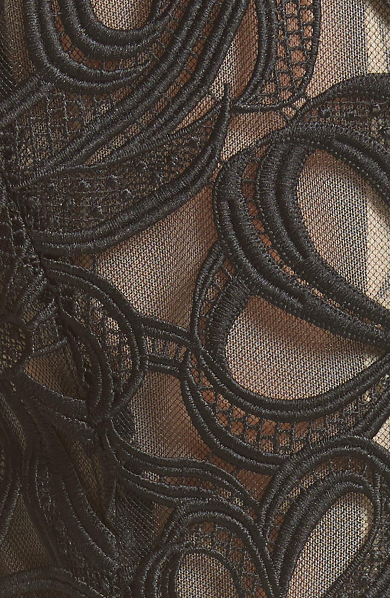 Ribbon Guipure Lace Midi Dress,                             Alternate thumbnail 5, color,                             001