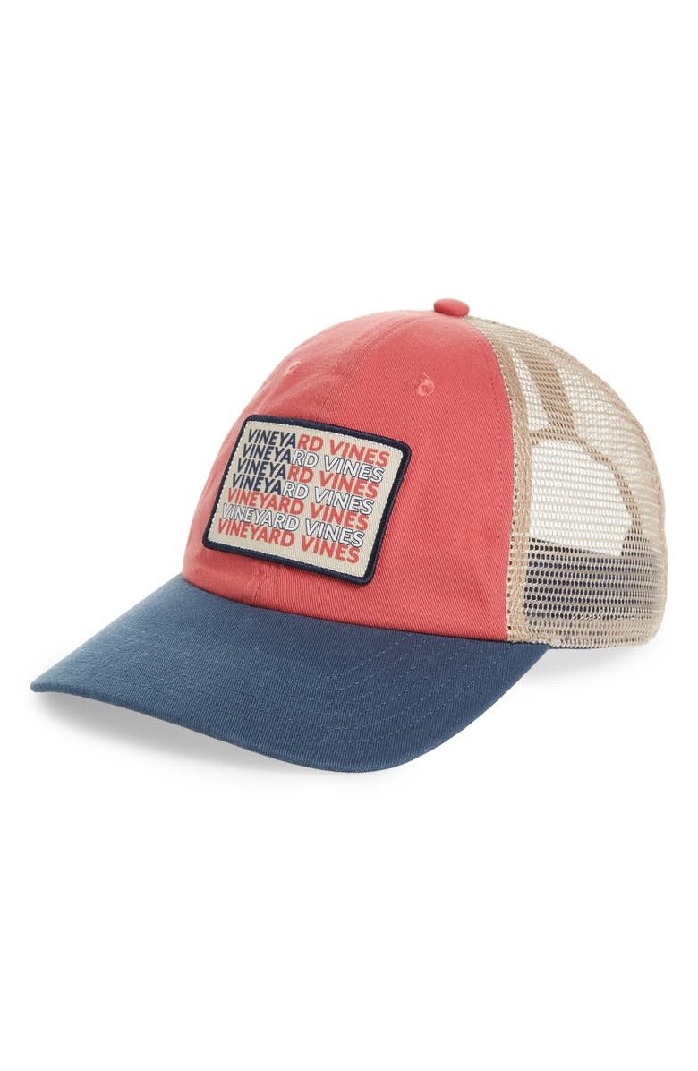 d32e8db9d08 vineyard vines Flag Whale Patch Trucker Cap