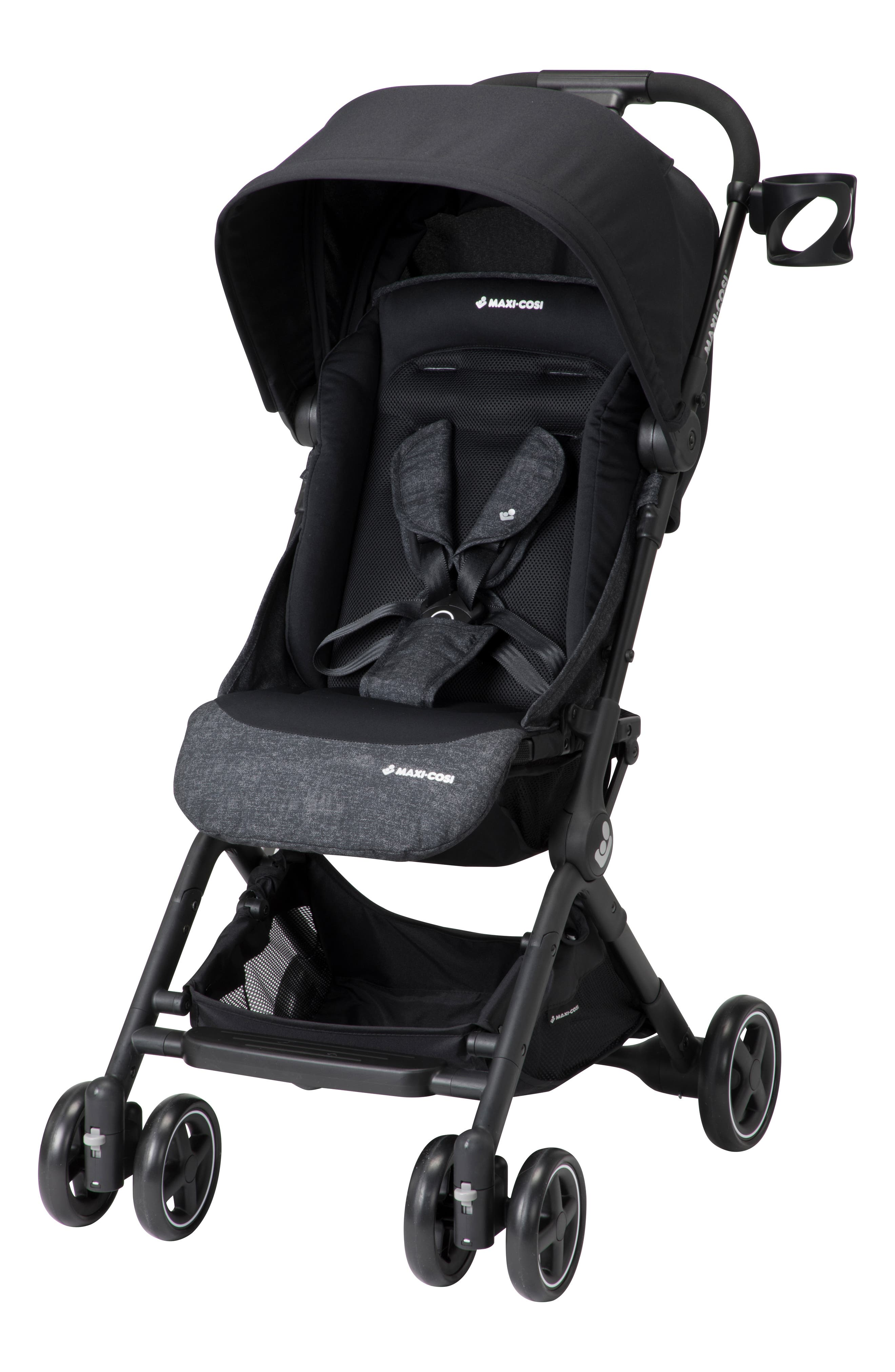 Lara Ultra Compact Stroller,                             Alternate thumbnail 9, color,                             NOMAD BLACK