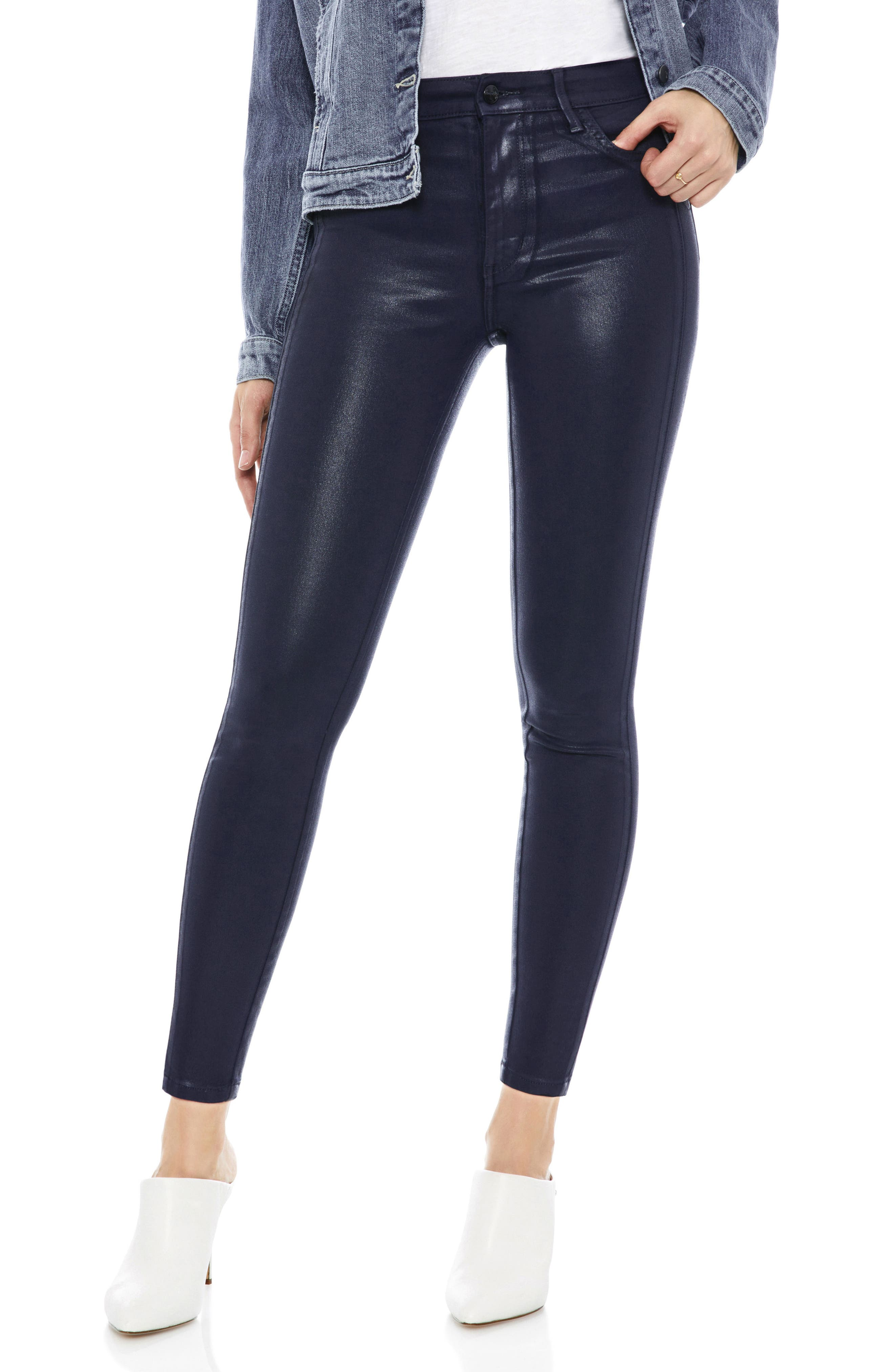 The Stiletto Coated High Rise Skinny Jeans,                             Main thumbnail 1, color,                             NAVY