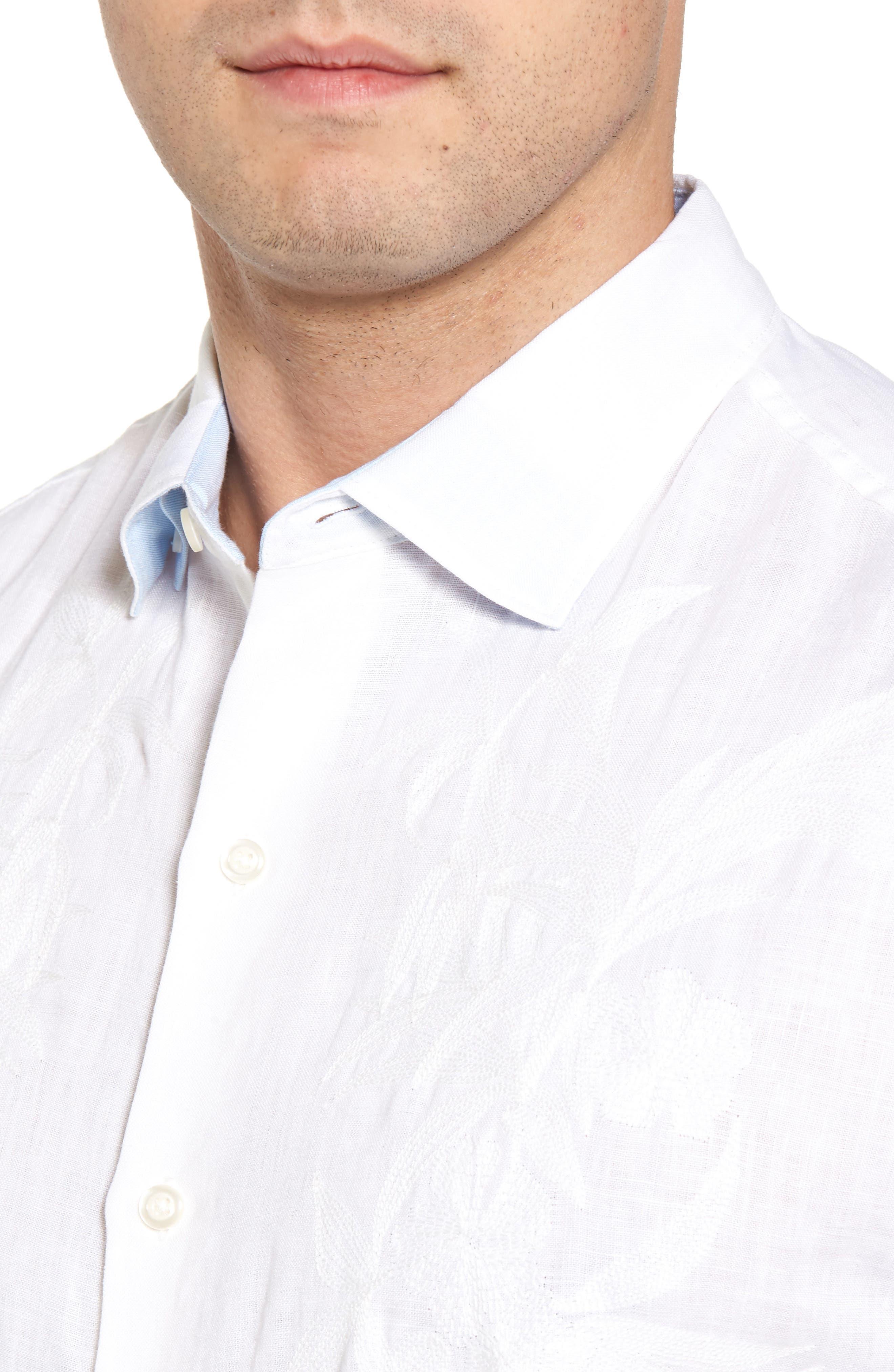 Down the Isle Regular Fit Linen Sport Shirt,                             Alternate thumbnail 4, color,                             100