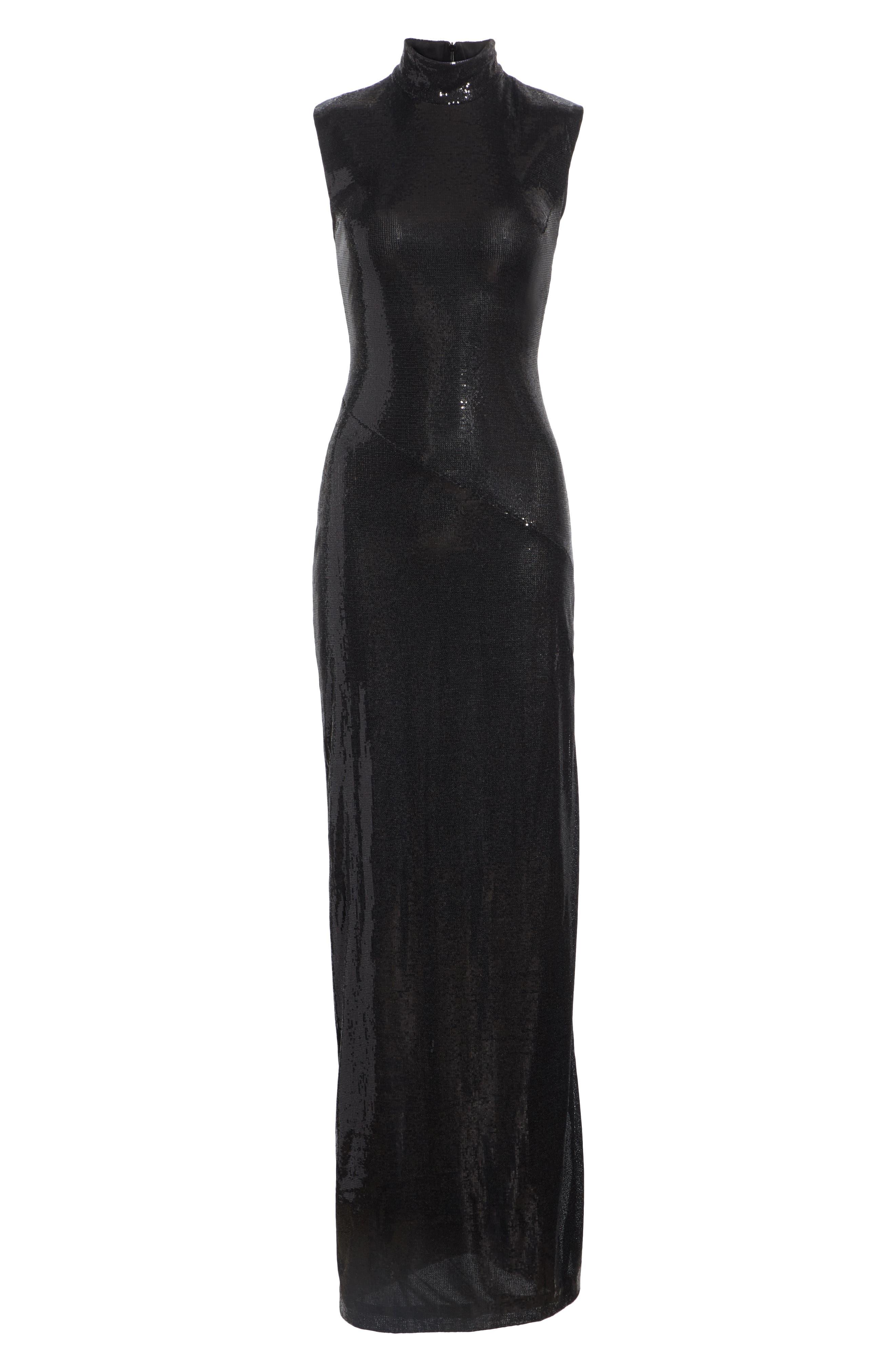 GALVAN,                             Turtleneck Sequin Gown,                             Alternate thumbnail 7, color,                             BLACK