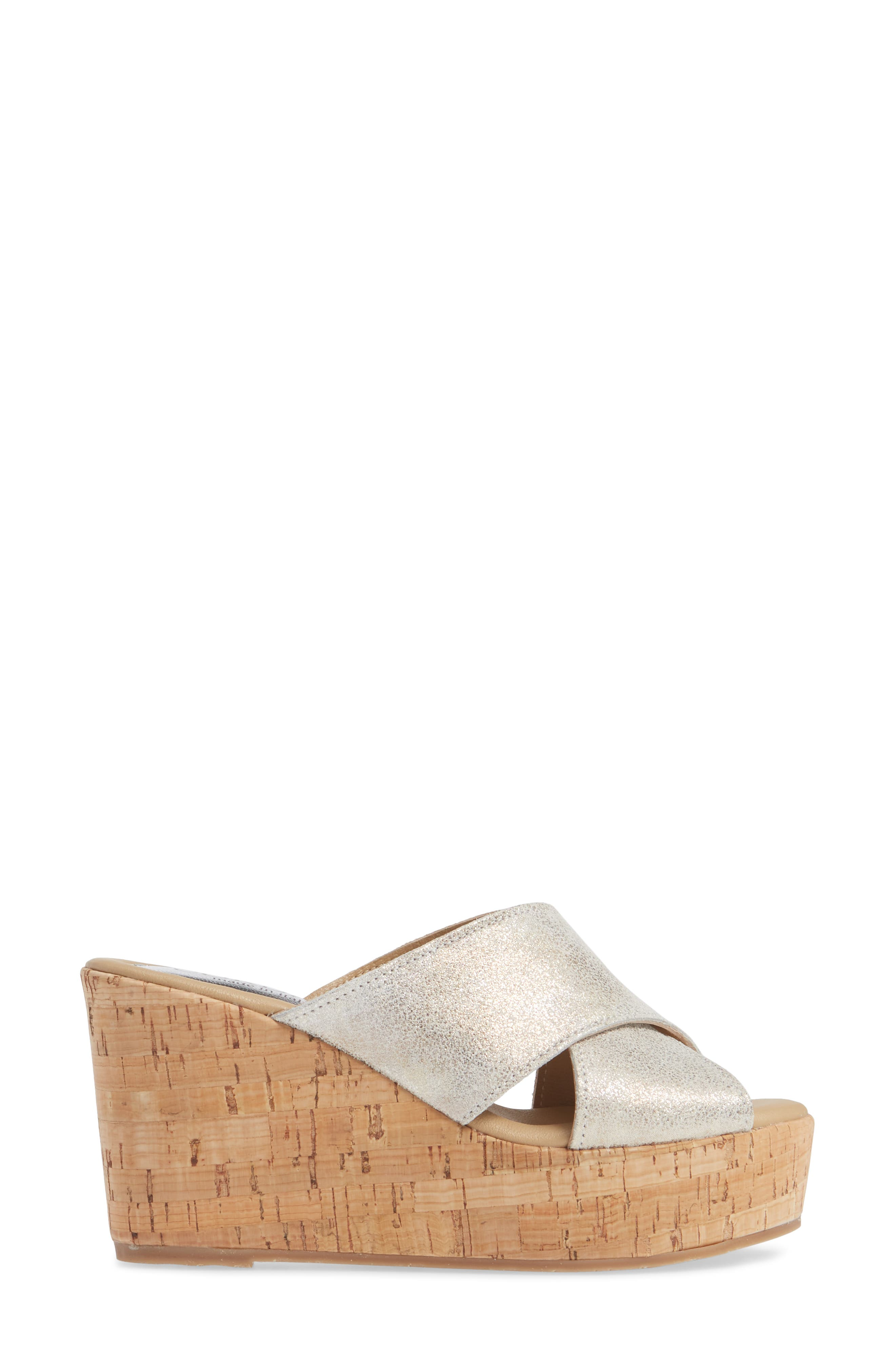 Jan Platform Wedge Slide Sandal,                             Alternate thumbnail 3, color,                             PEARL SUEDE