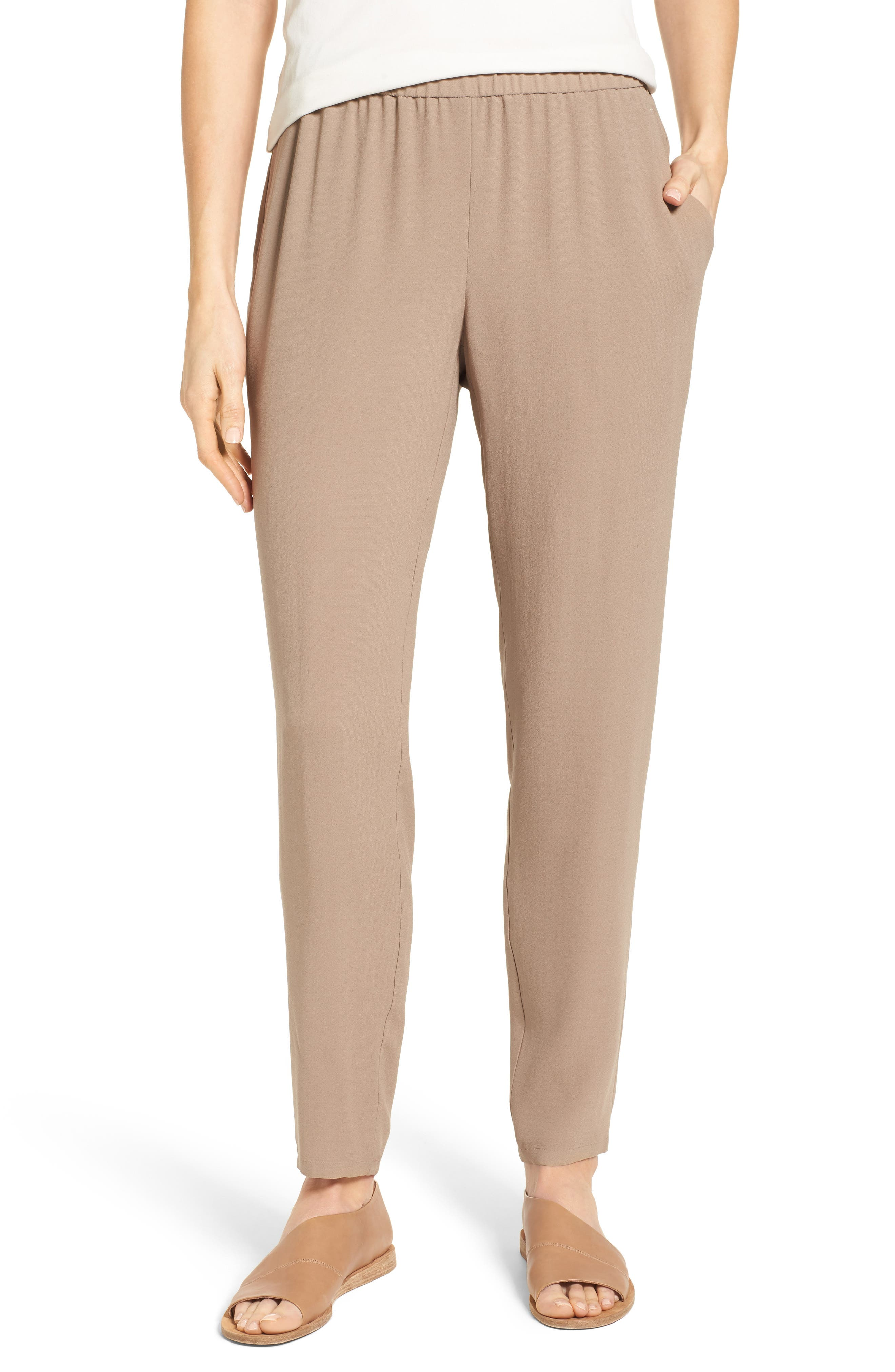 Slouchy Silk Crepe Ankle Pants,                             Main thumbnail 8, color,