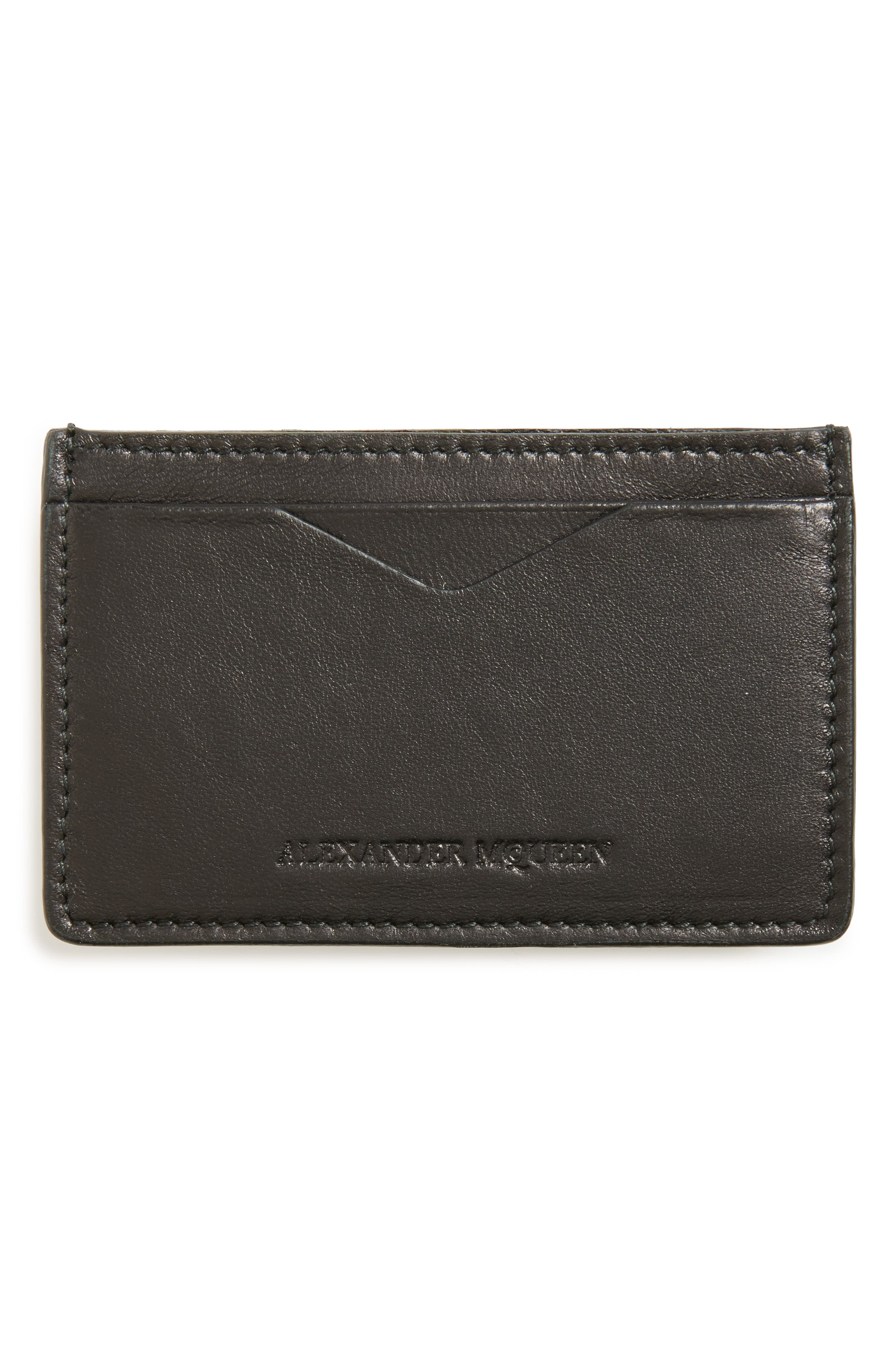 Rib Cage Leather Card Holder,                             Alternate thumbnail 2, color,                             BLACK