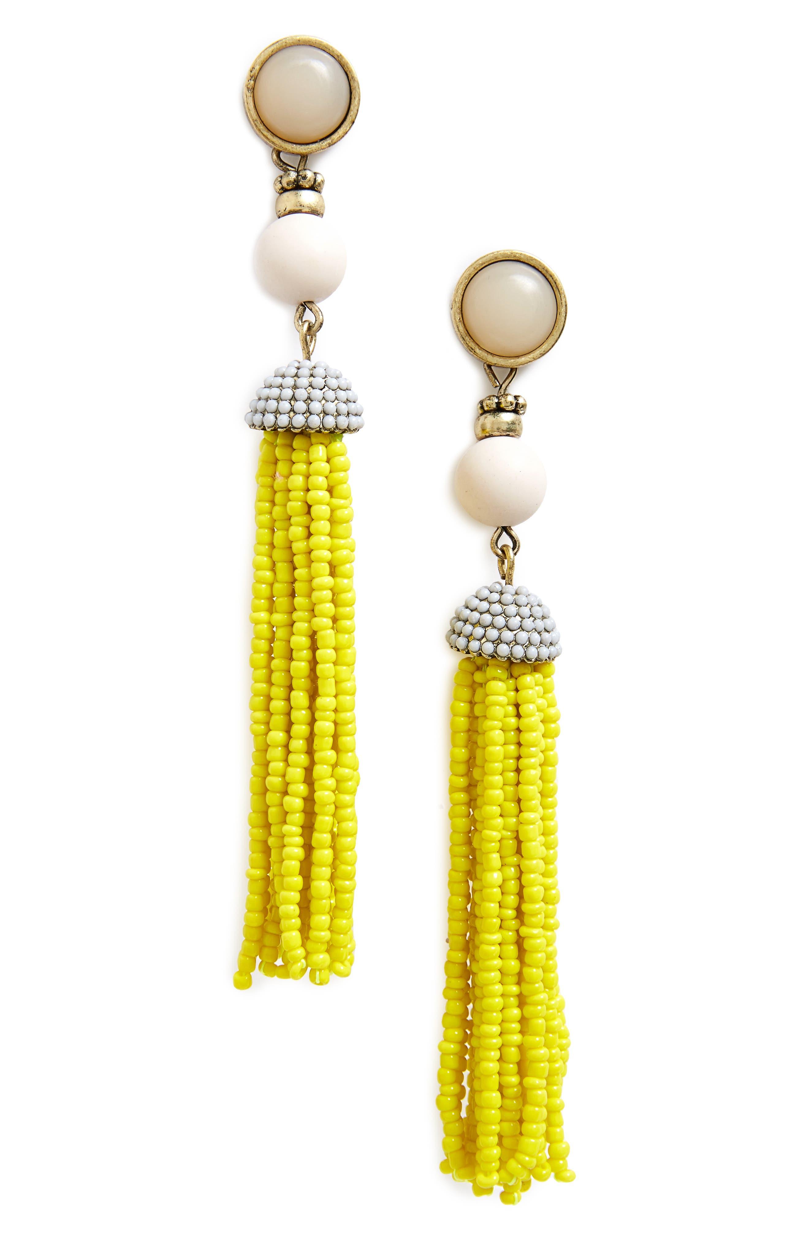 'Artemis' Beaded Tassel Drop Earrings,                             Main thumbnail 5, color,