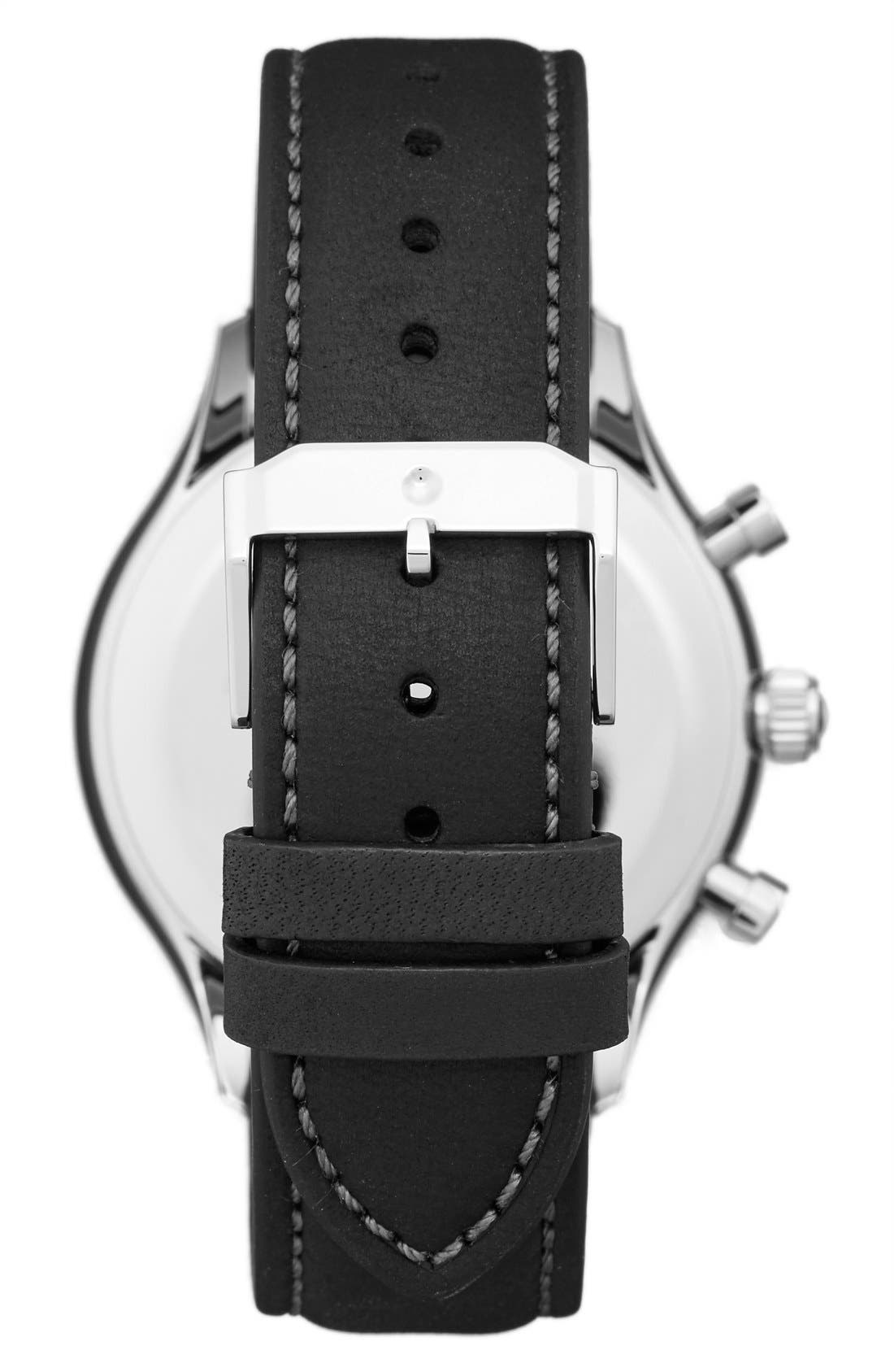'Heritage' Chronograph Leather Strap Watch, 43mm,                             Alternate thumbnail 2, color,                             BLACK/ BLACK