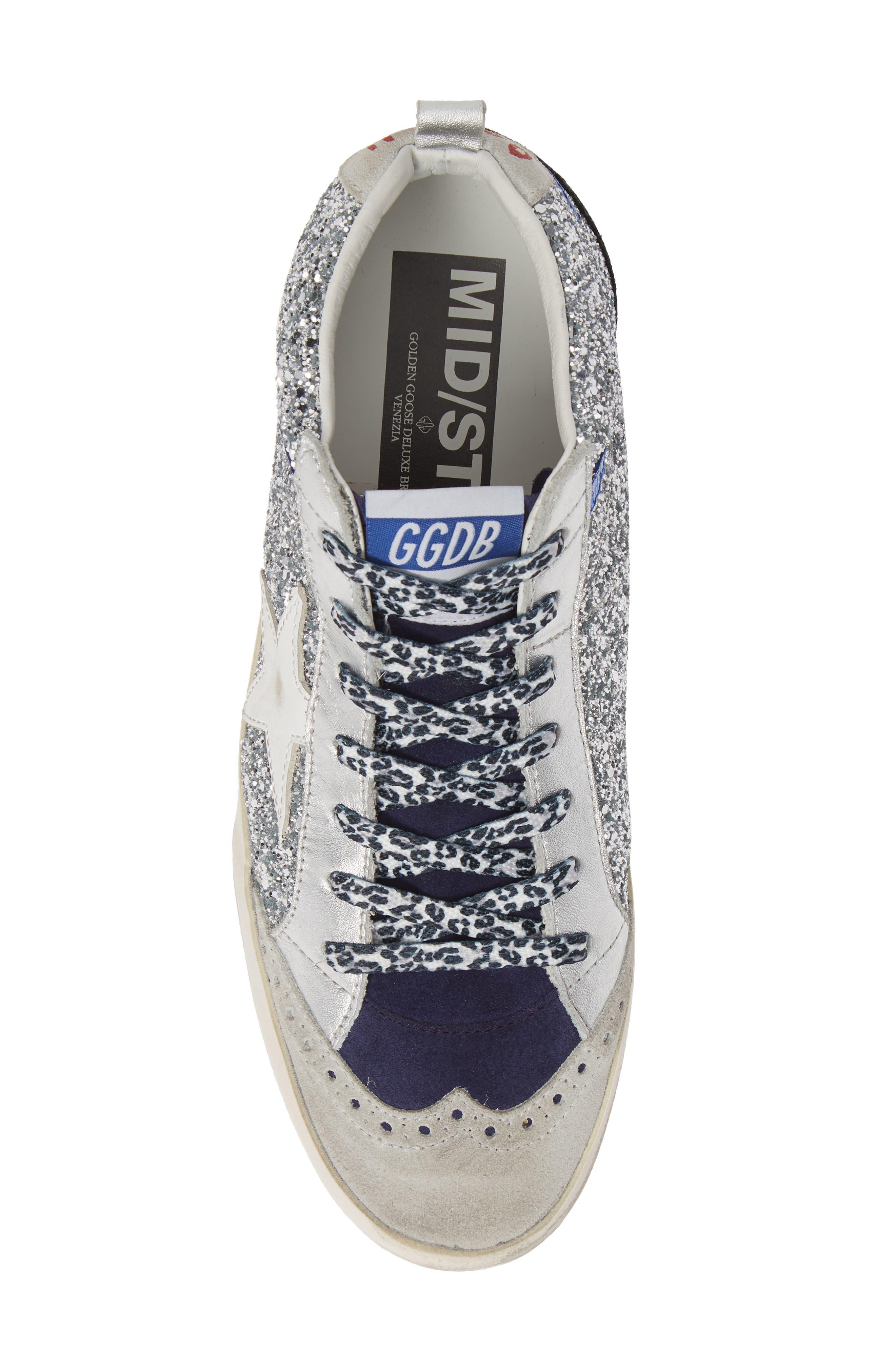Mid Star Glitter Sneaker,                             Alternate thumbnail 5, color,                             SILVER/ WHITE