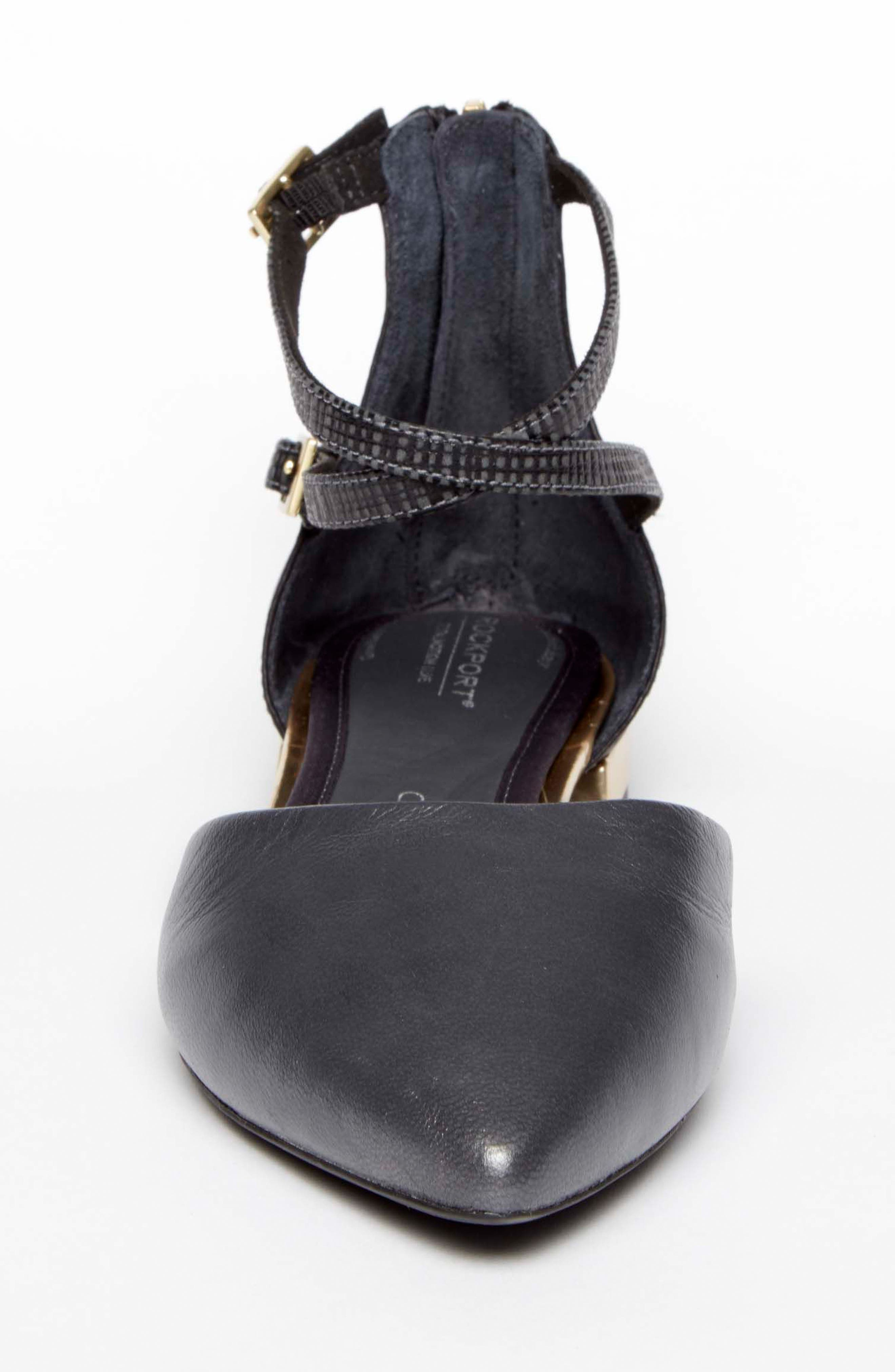 Total Motion<sup>®</sup> Zuly Luxe Ankle Strap Flat,                             Alternate thumbnail 4, color,                             BLACK LEATHER