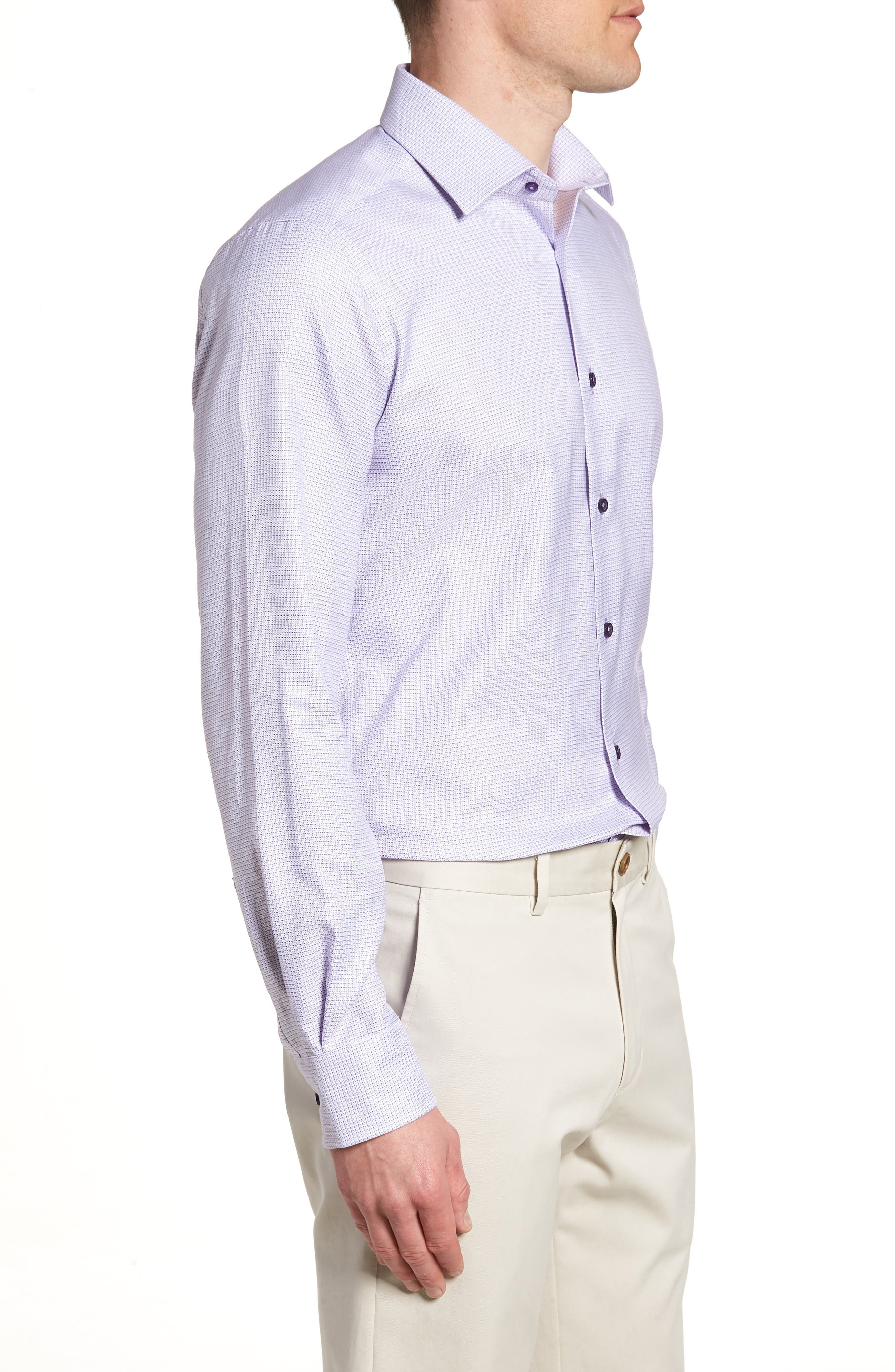 Trim Fit Check Dress Shirt,                             Alternate thumbnail 4, color,                             LILAC