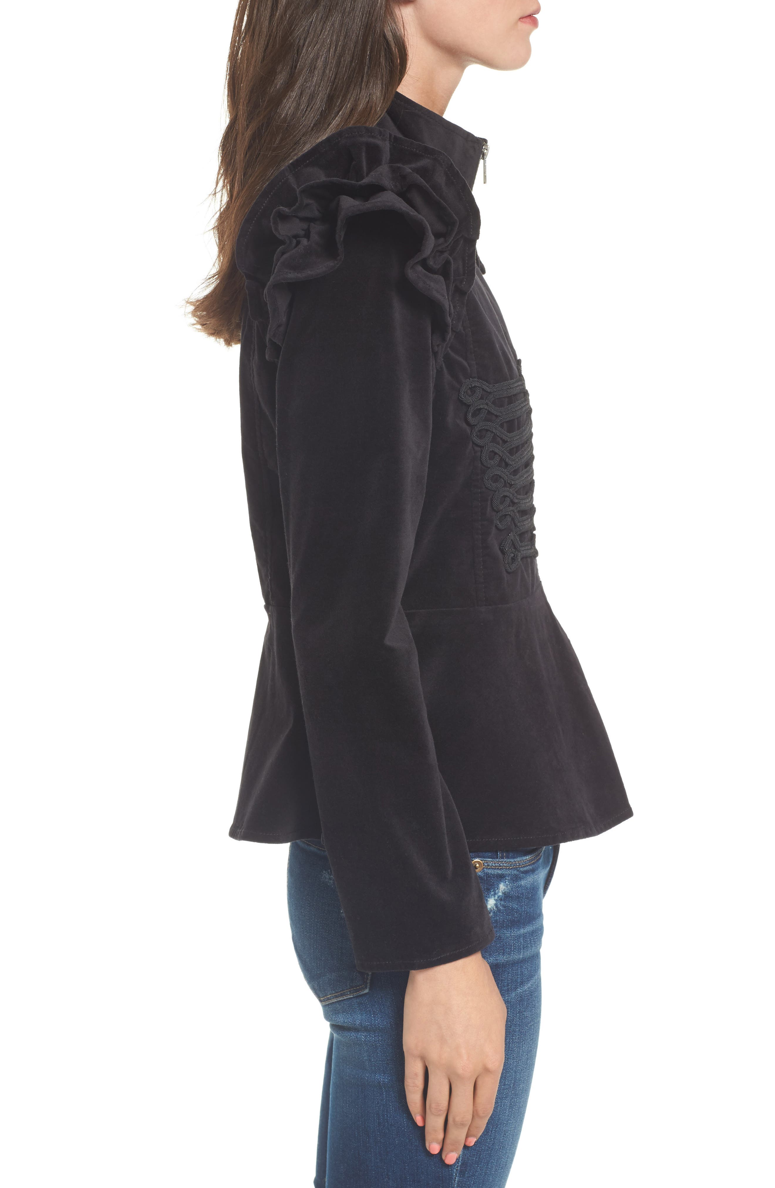 Ruffle Sleeve Peplum Jacket,                             Alternate thumbnail 3, color,                             001