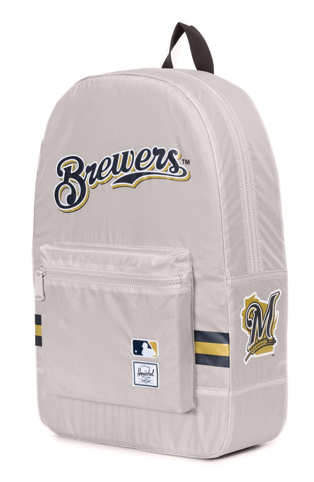 Packable - MLB National League Backpack,                             Alternate thumbnail 3, color,                             MILWAUKEE BREWERS