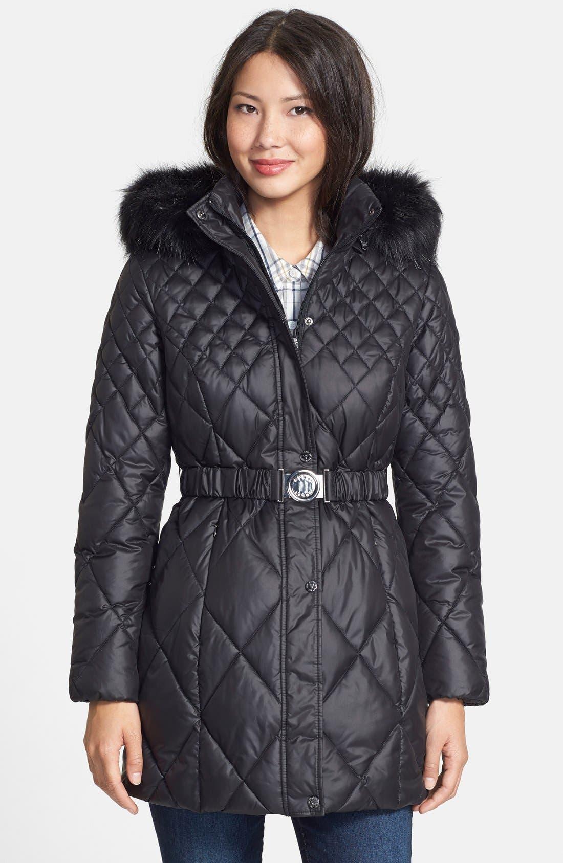 Faux Fur Trim Diamond Quilted Coat, Main, color, 001