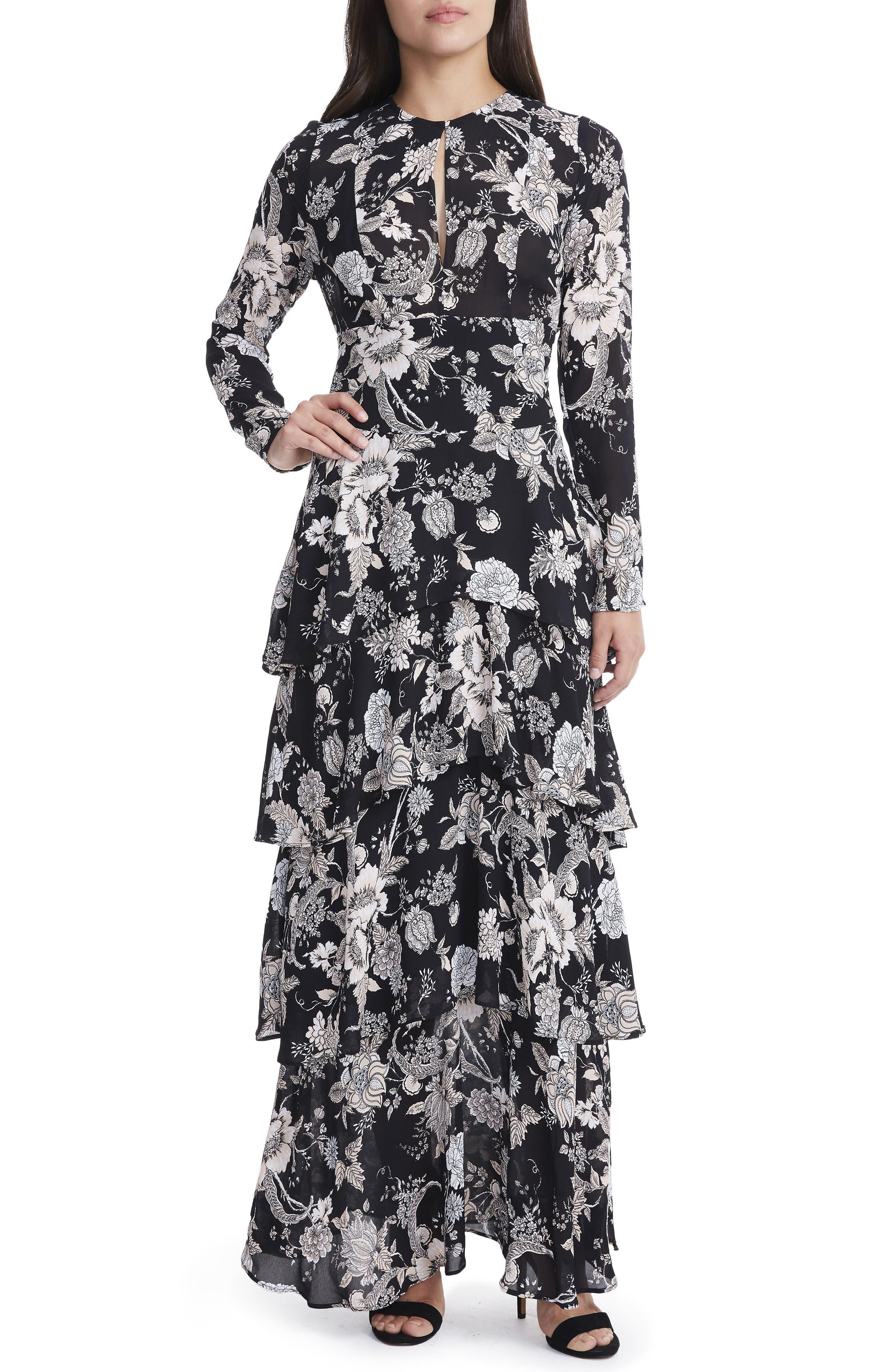 Amabella Tiered Maxi Dress,                             Main thumbnail 1, color,                             001