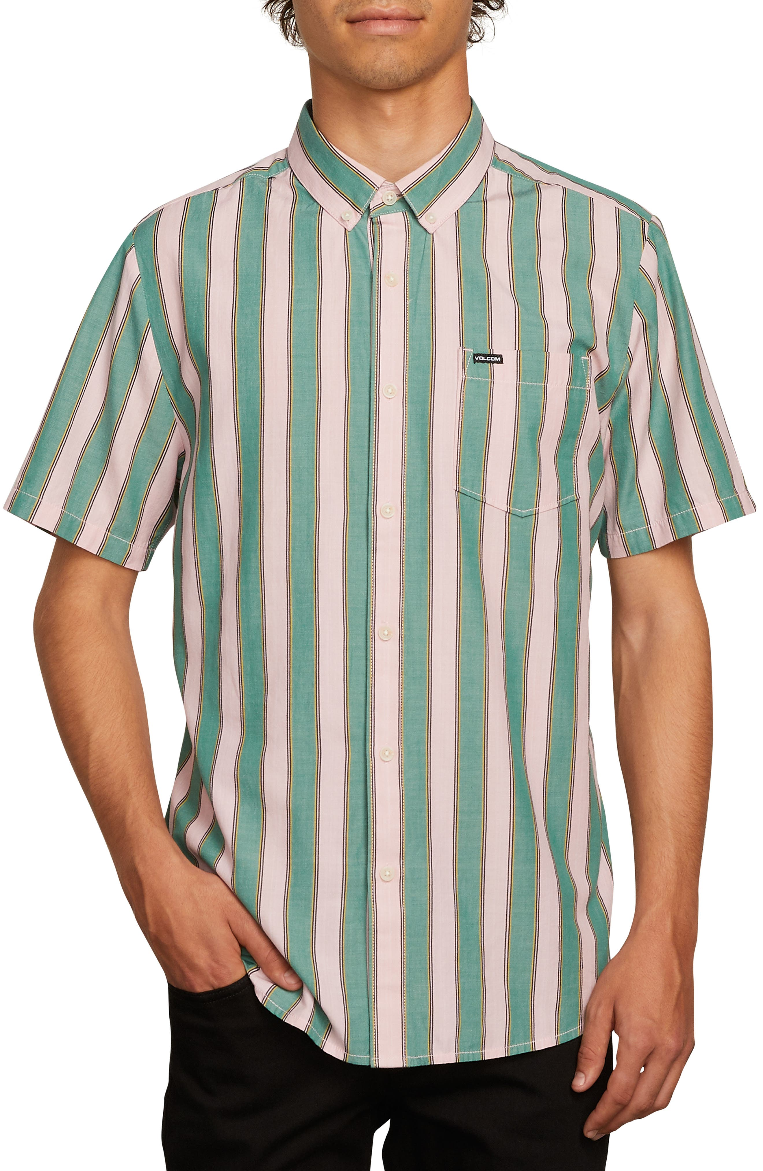 The Bold Stripe Woven Shirt,                             Main thumbnail 1, color,                             DEEP SEA