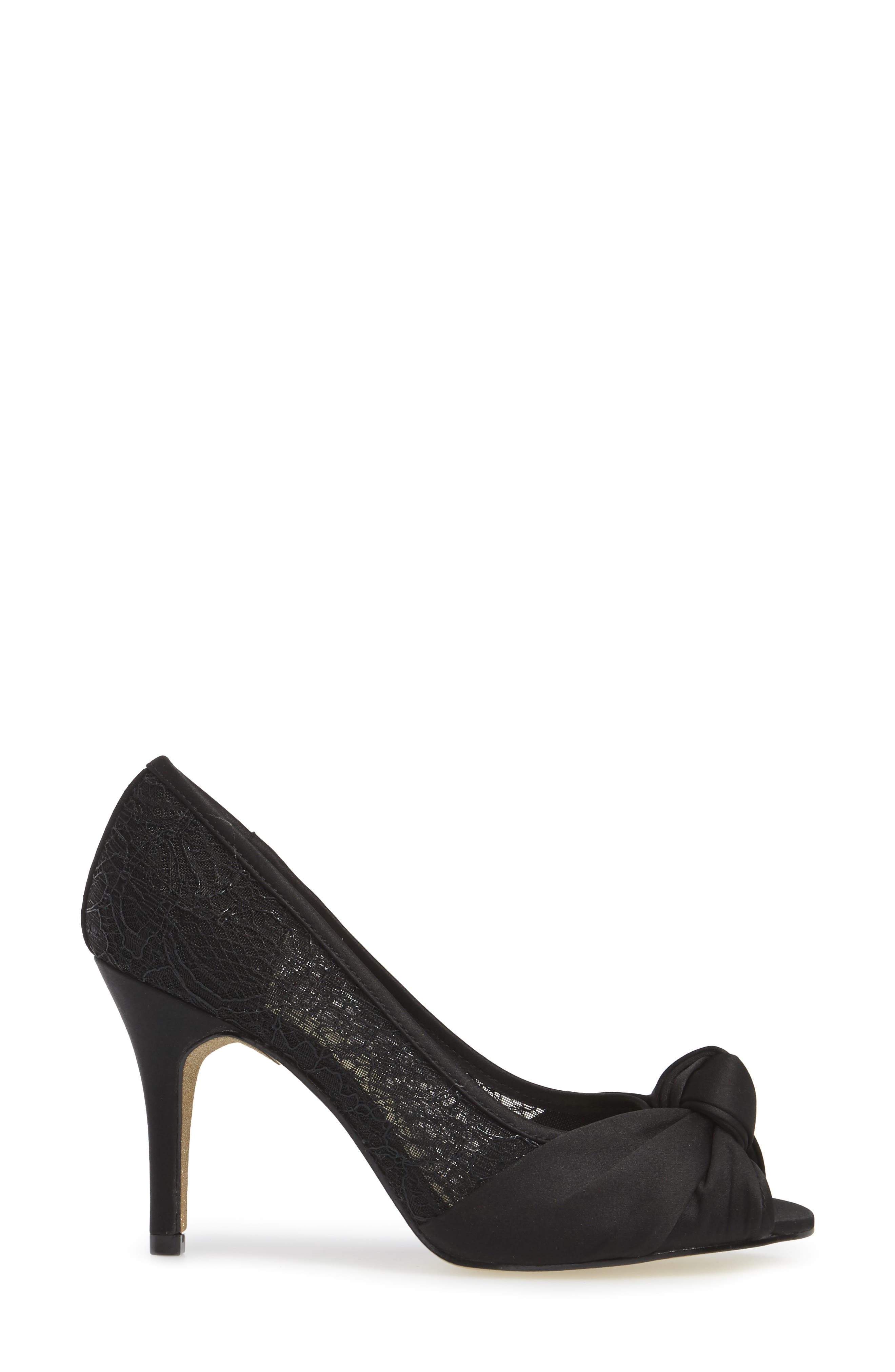 Francesca Knotted Peep Toe Pump,                             Alternate thumbnail 3, color,                             001