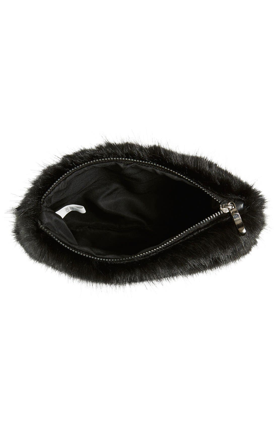 LA DOUBLE 7,                             No Brand Needed Faux Fur Convertible Clutch,                             Alternate thumbnail 2, color,                             001