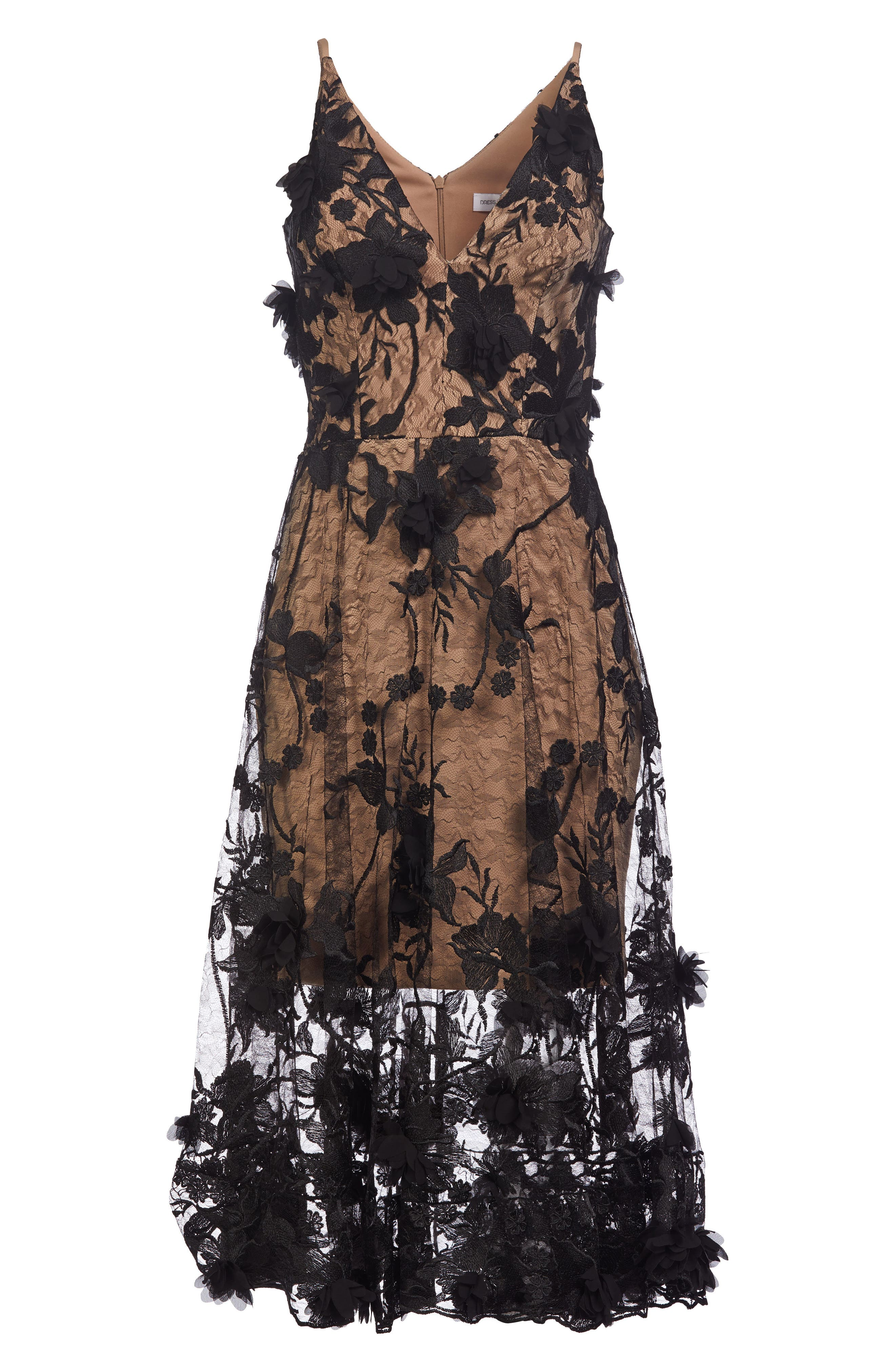 Audrey Embroidered Fit & Flare Dress,                             Alternate thumbnail 3, color,                             BLACK/ NUDE