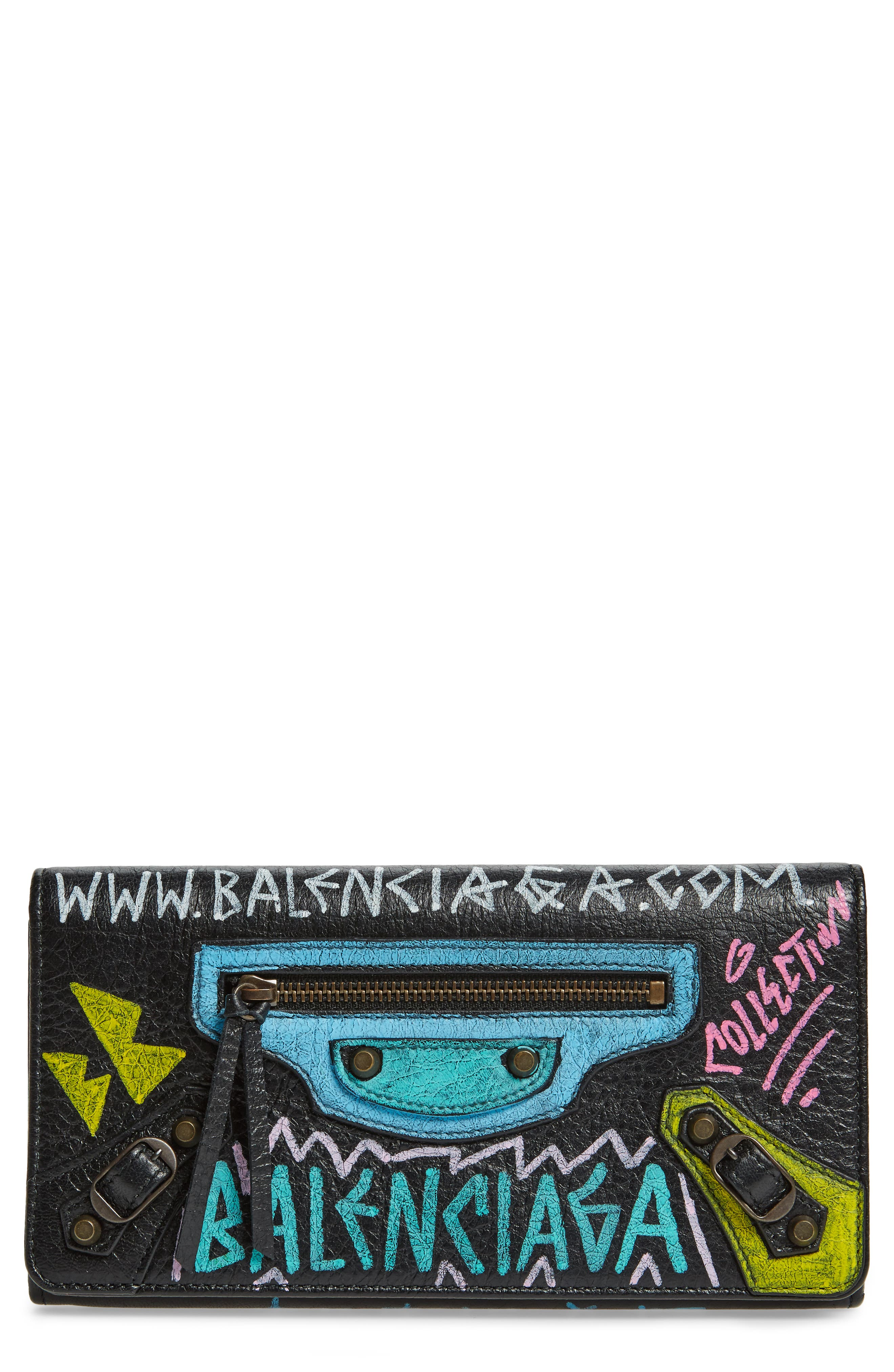Classic Graffiti Leather Wallet,                         Main,                         color, 006