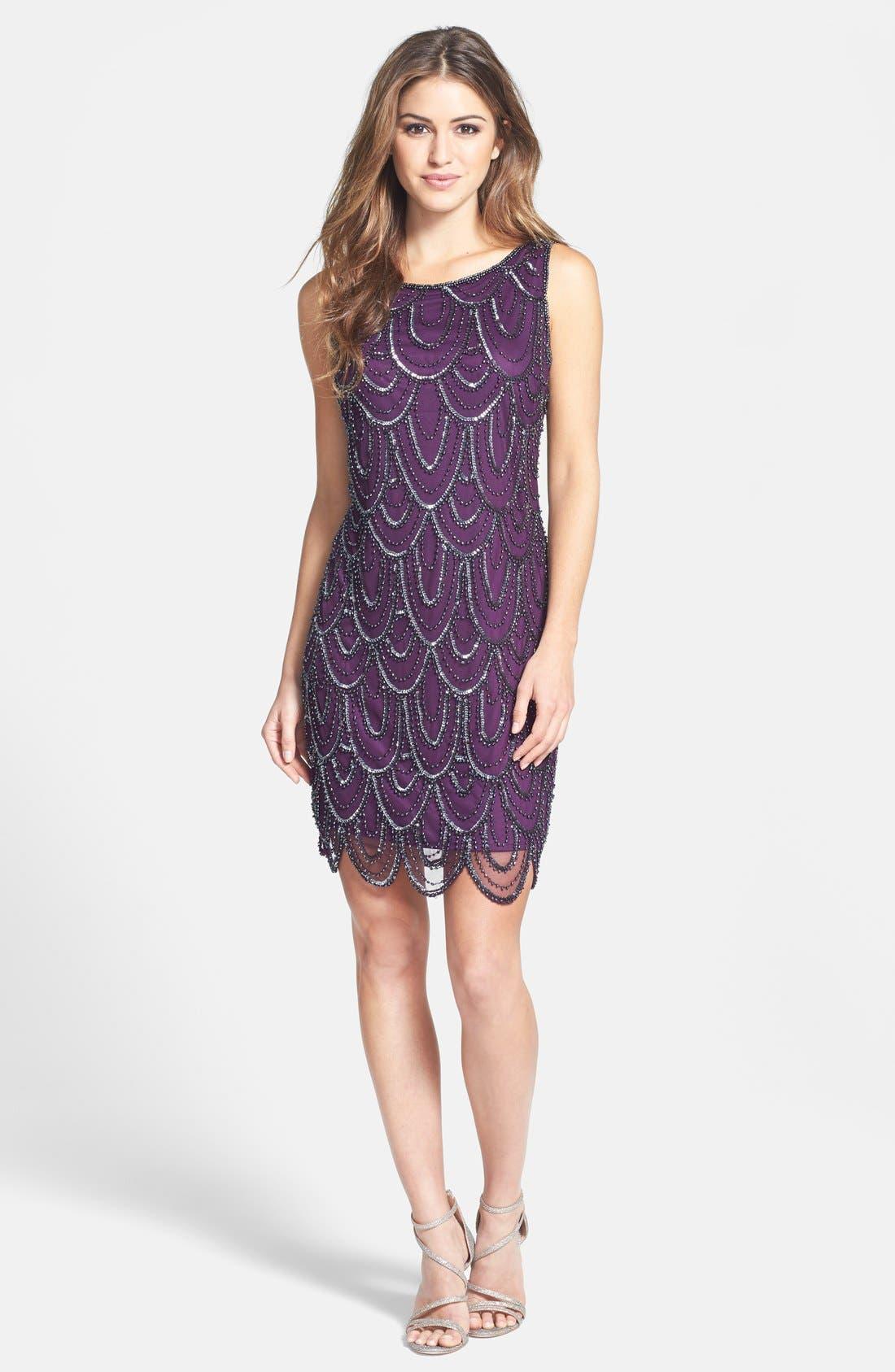 Embellished Mesh Sheath Dress,                             Alternate thumbnail 109, color,