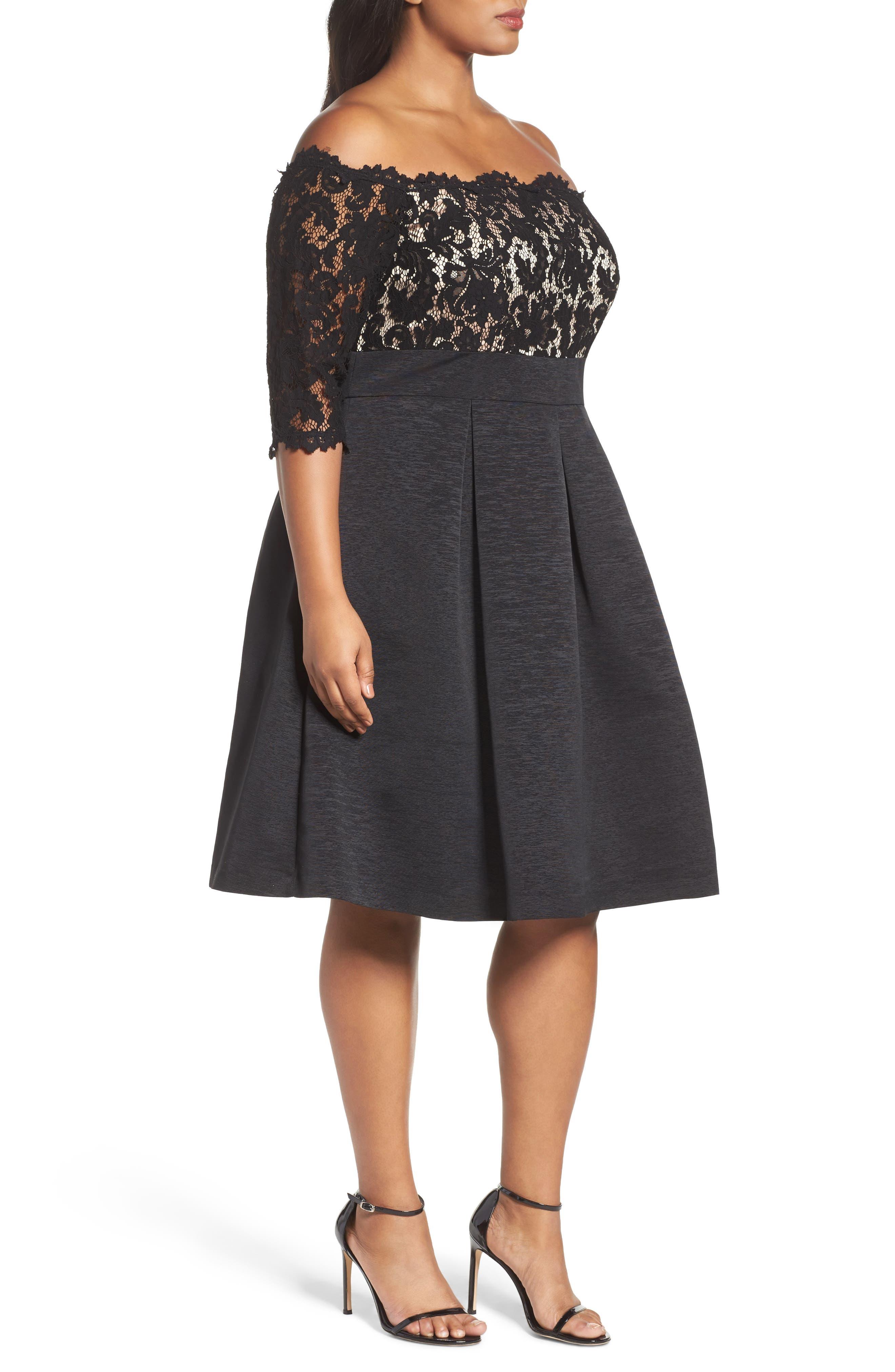 Off the Shoulder A-Line Dress,                             Alternate thumbnail 3, color,                             BLACK