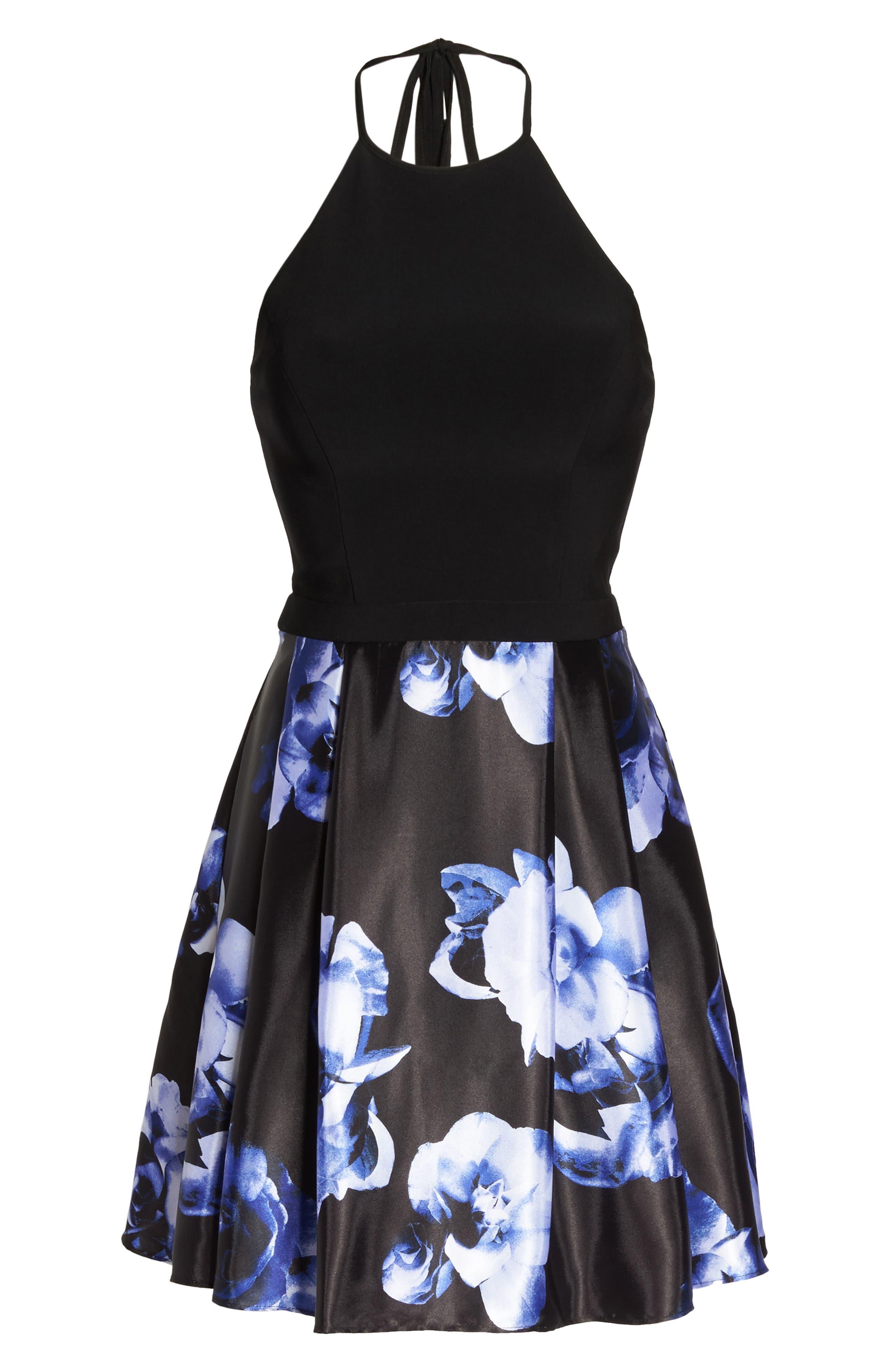 Floral Skirt Halter Skater Dress,                             Alternate thumbnail 6, color,