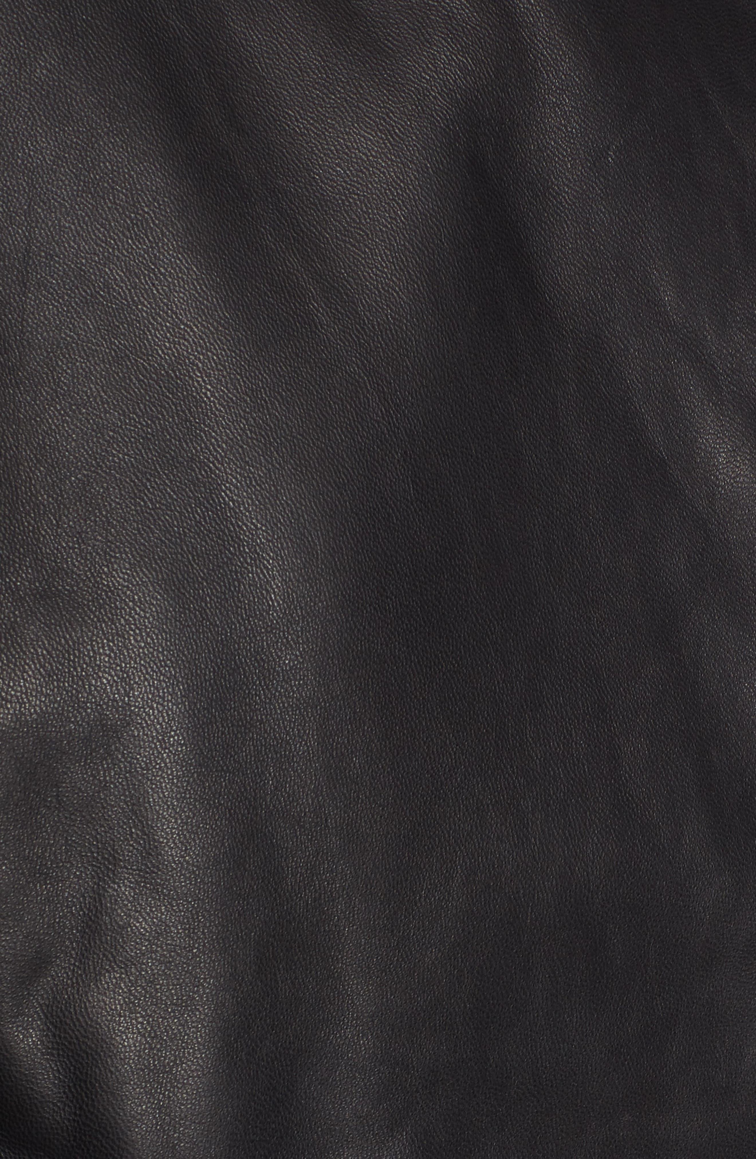 Jetta Asymmetrical Zip Leather Jacket,                             Alternate thumbnail 6, color,                             001