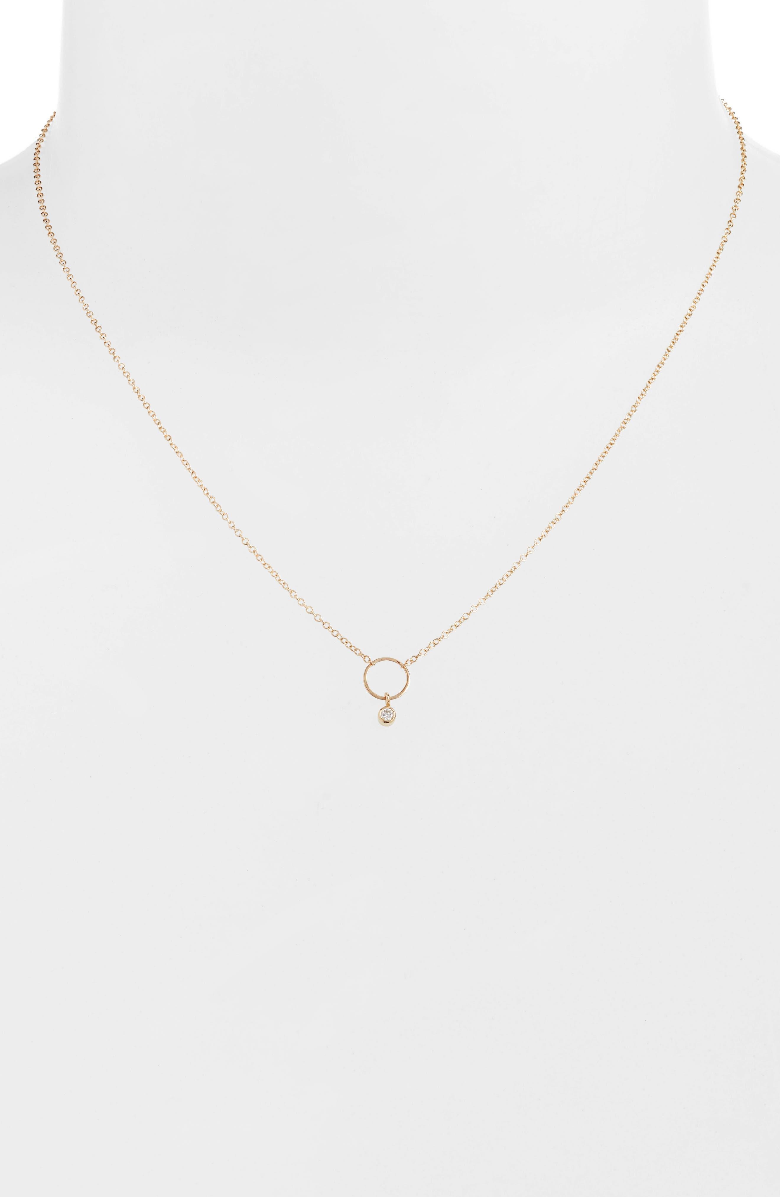 Dangling Diamond Circle Pendant Necklace,                             Alternate thumbnail 2, color,                             YELLOW GOLD