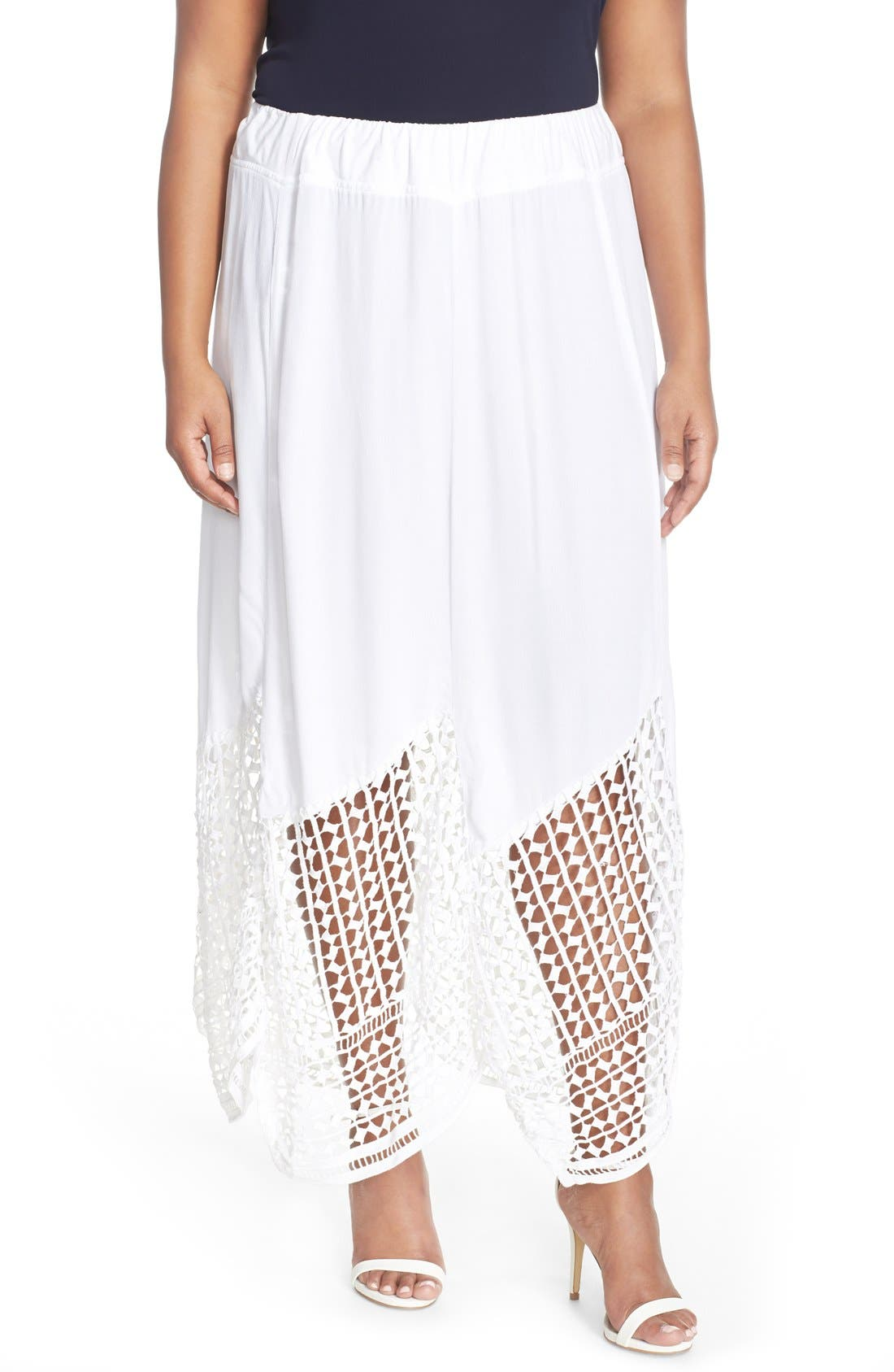 'Lauryn' Lace Border Midi Skirt,                         Main,                         color, 100