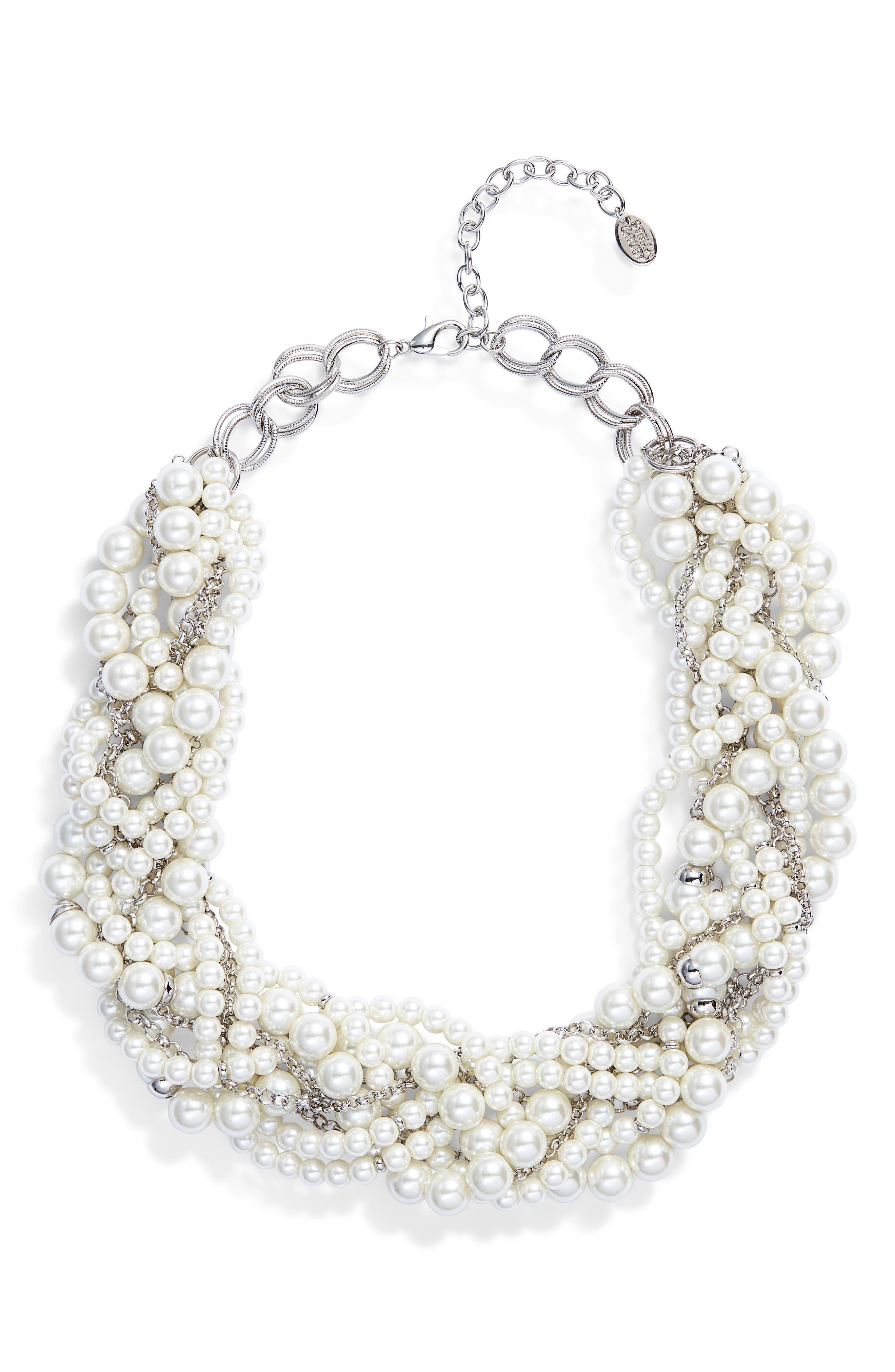 Braided Imitation Pearl Necklace,                             Main thumbnail 1, color,                             040