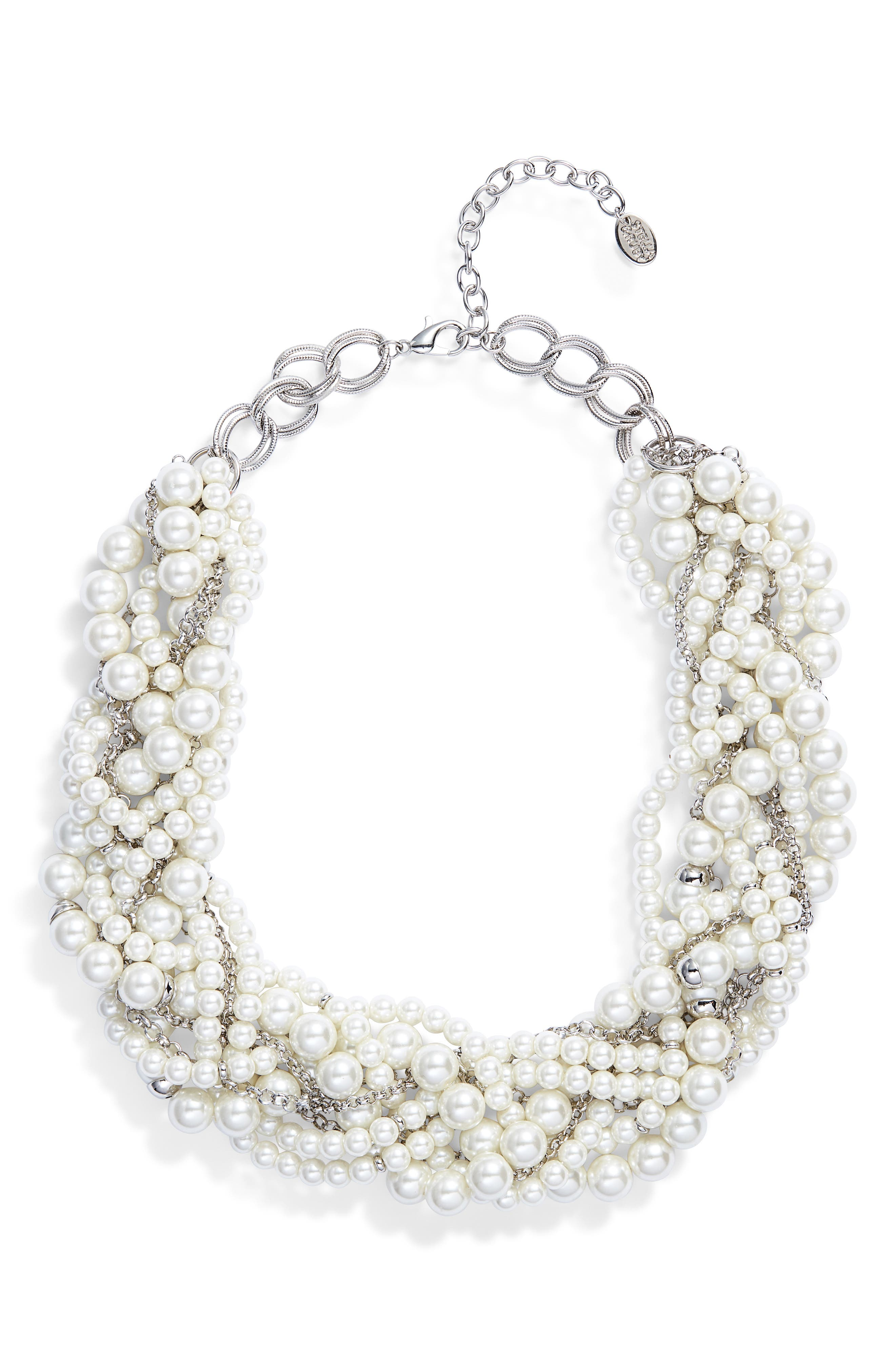 Braided Imitation Pearl Necklace, Main, color, 040