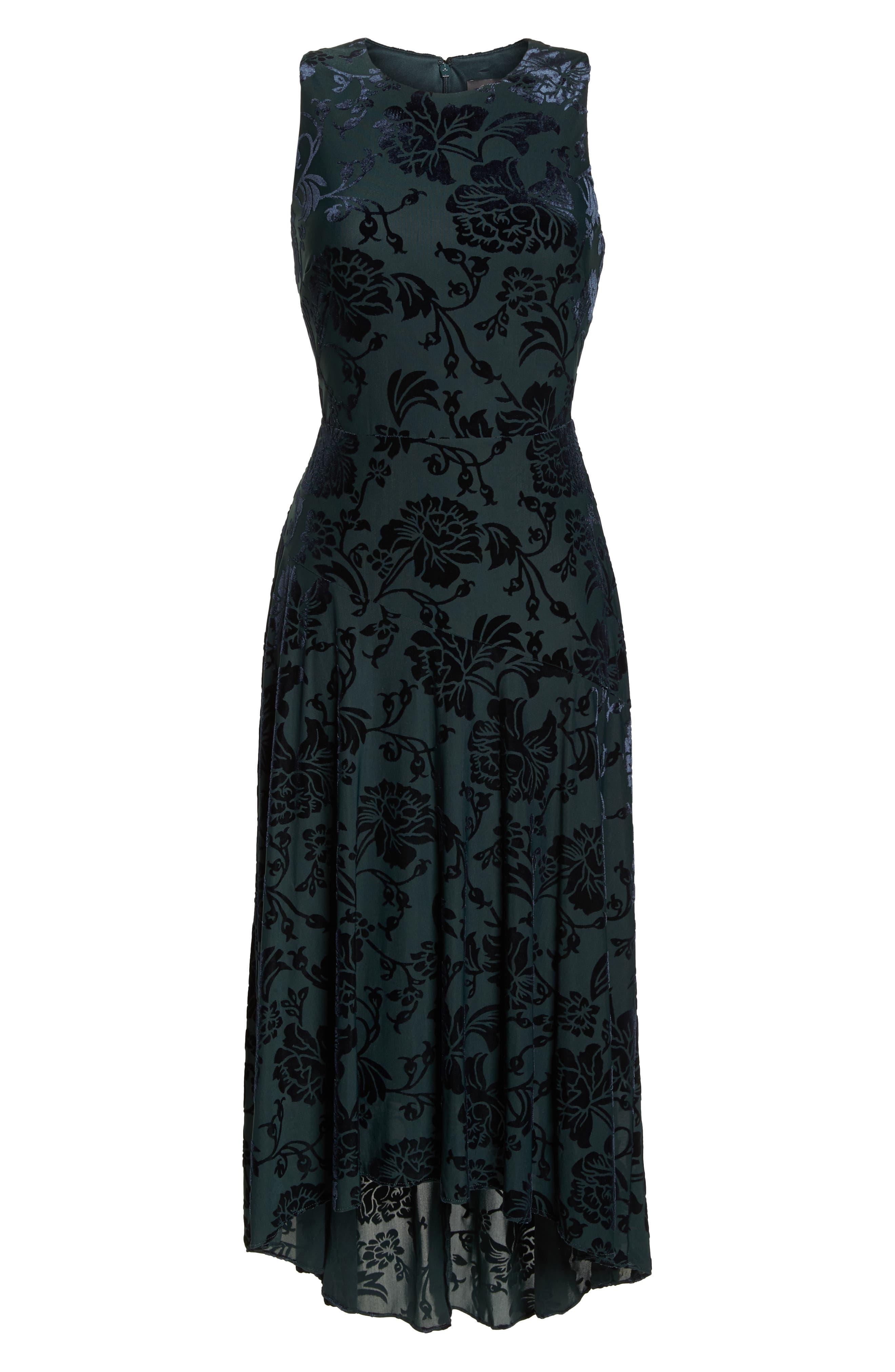 Burnout Velvet High/Low Dress,                             Alternate thumbnail 7, color,                             NAVY/ GREEN