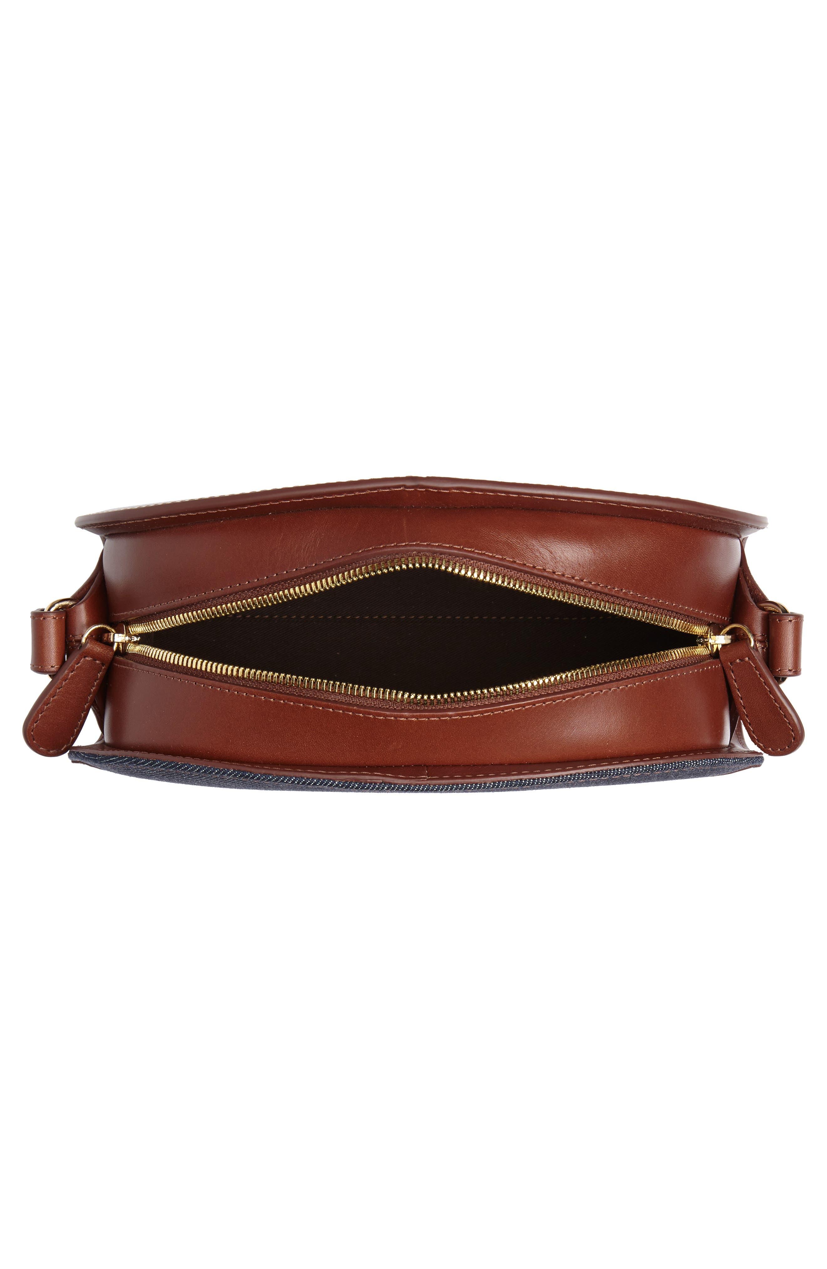 Sac Demilune Leather & Denim Crossbody Bag,                             Alternate thumbnail 4, color,                             NOISETTE CAD