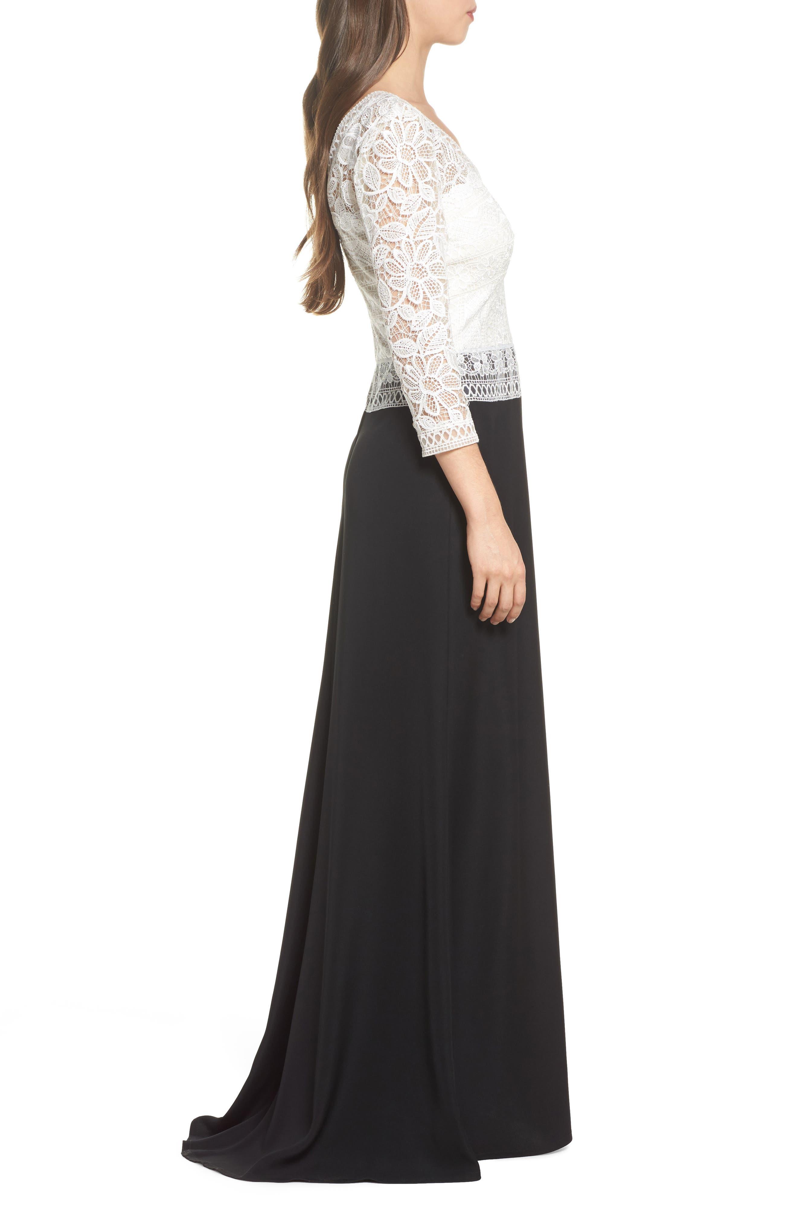 Lace & Crepe A-Line Gown,                             Alternate thumbnail 3, color,                             002