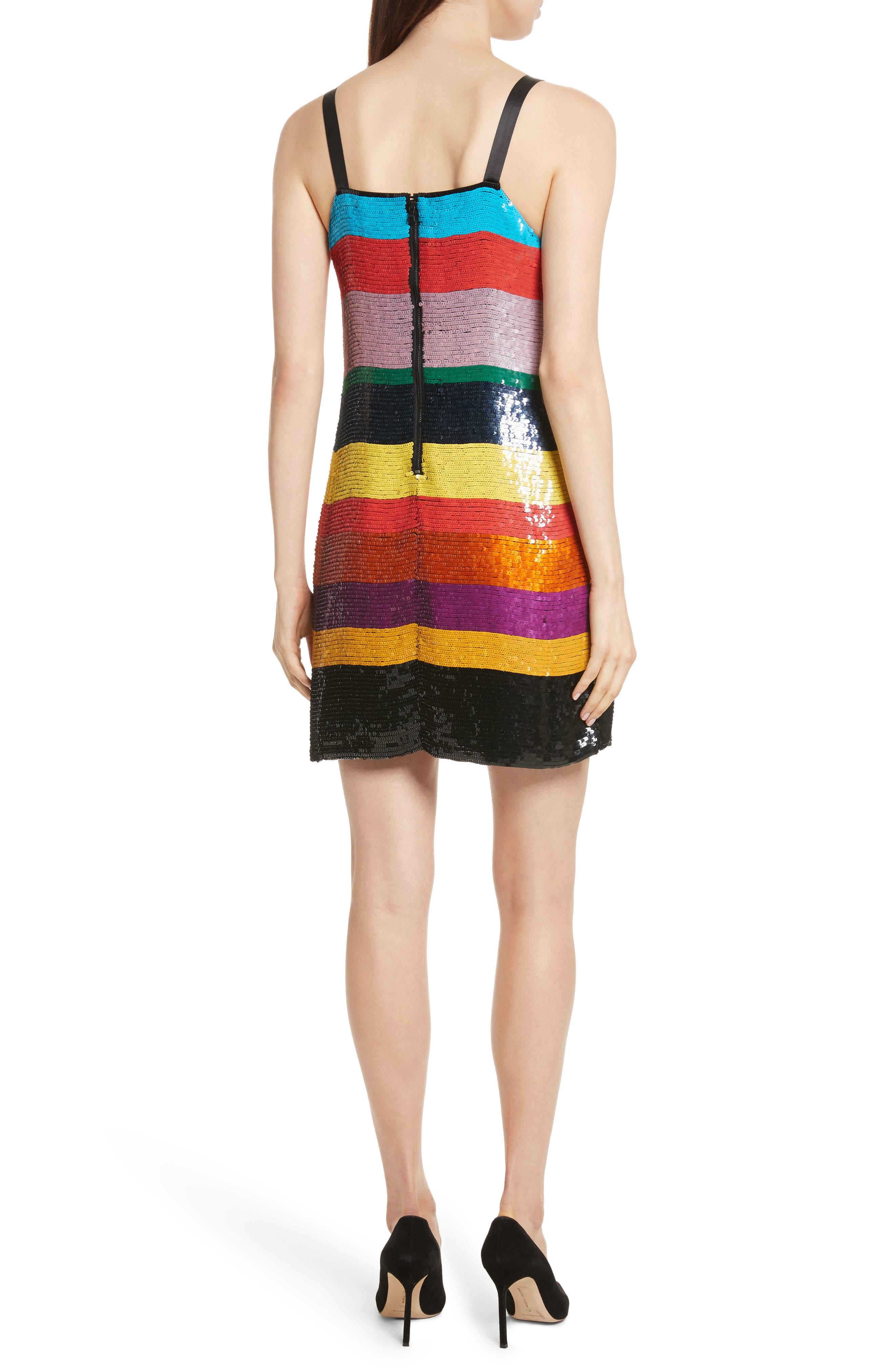 Bridget Striped Sequin Slipdress,                             Alternate thumbnail 2, color,                             006