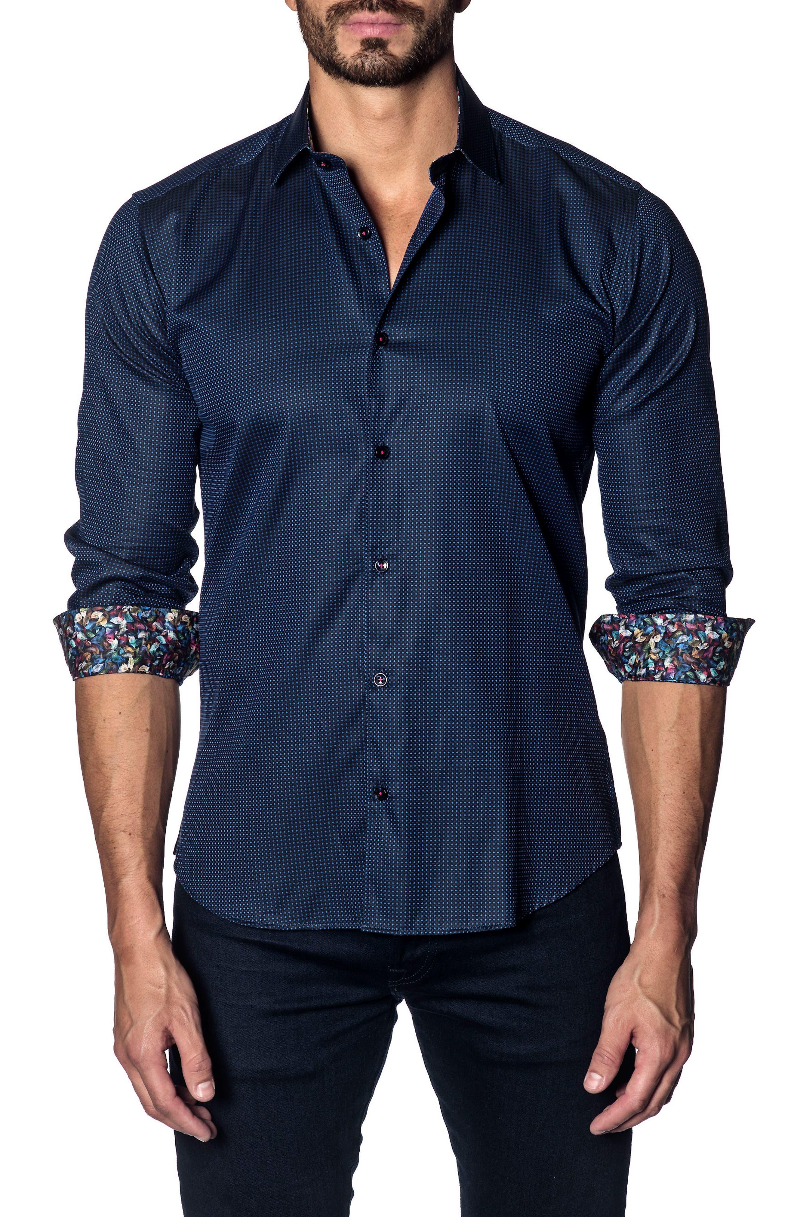 Slim Fit Print Sport Shirt,                         Main,                         color, NAVY PIN POINT