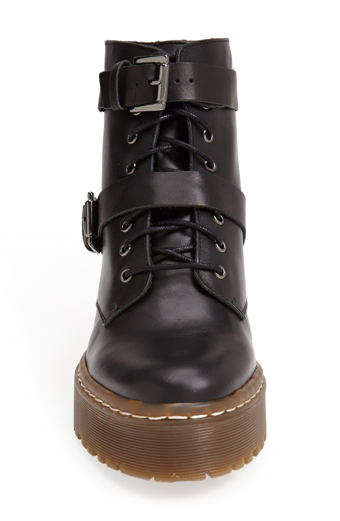 'Auction' Lace-Up Platform Boot,                             Alternate thumbnail 3, color,                             001