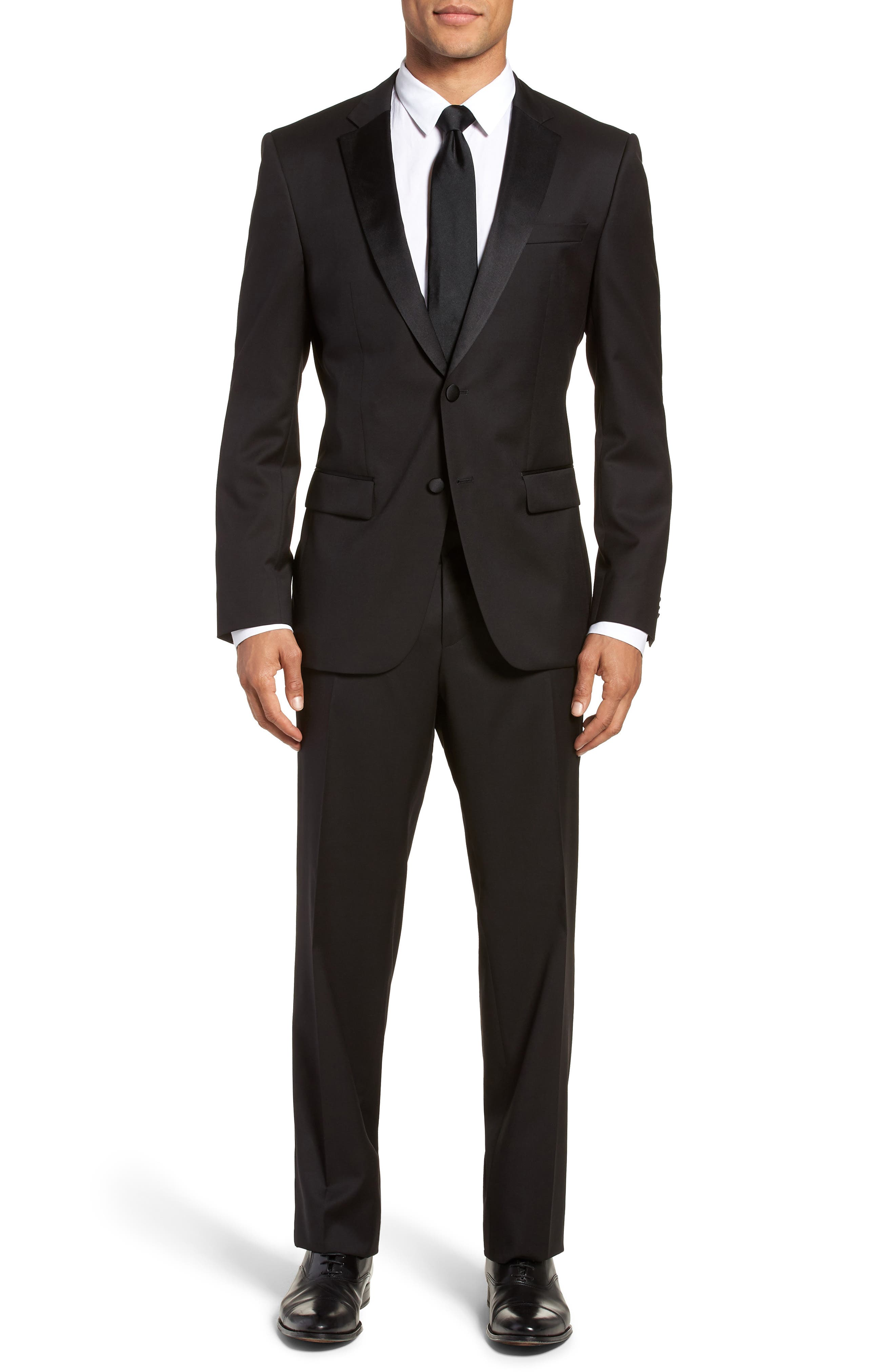 Hence CYL Trim Fit Wool Dinner Jacket,                             Alternate thumbnail 7, color,                             BLACK