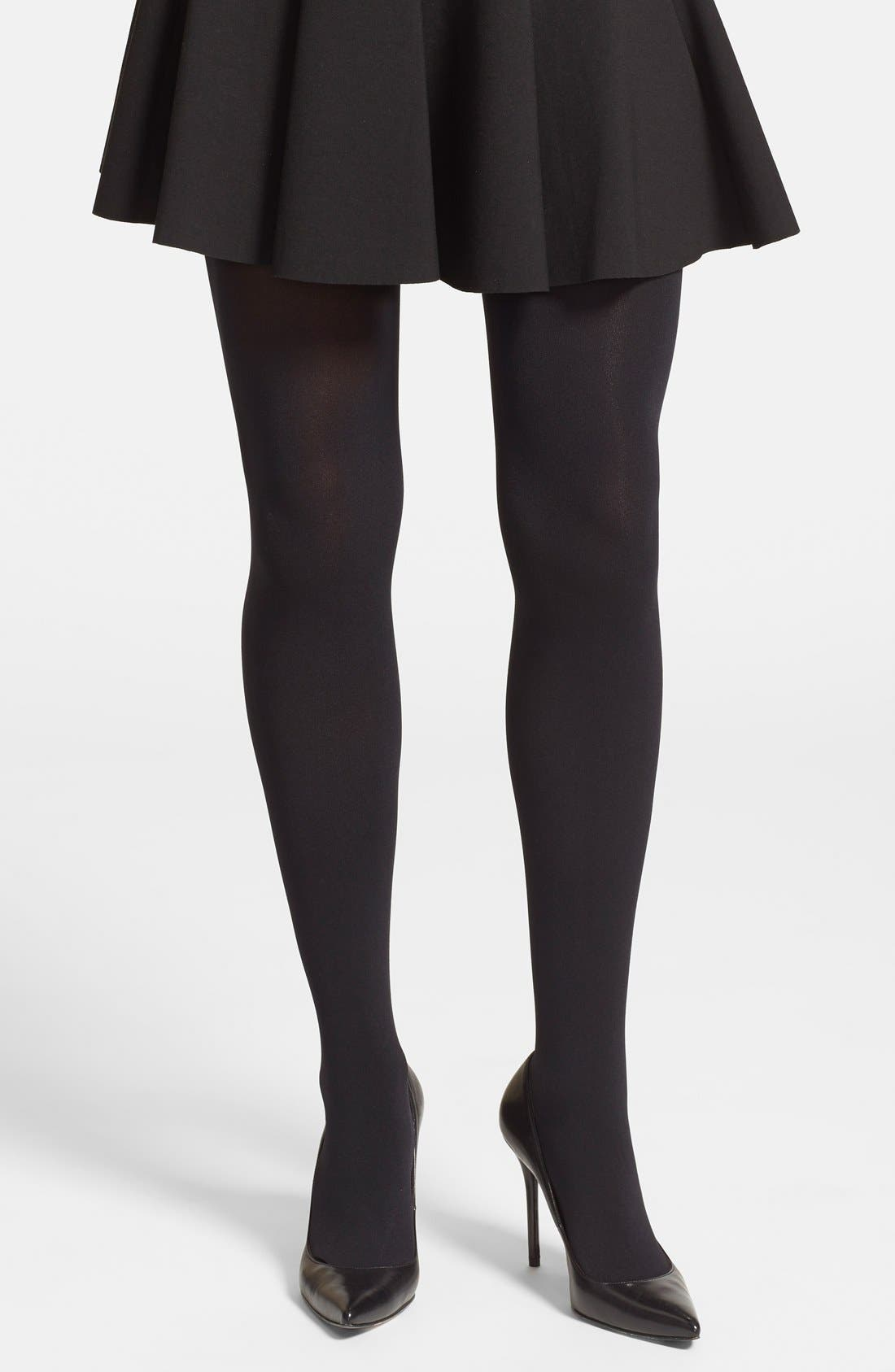 Studded Back Seam Tights,                             Alternate thumbnail 2, color,                             001