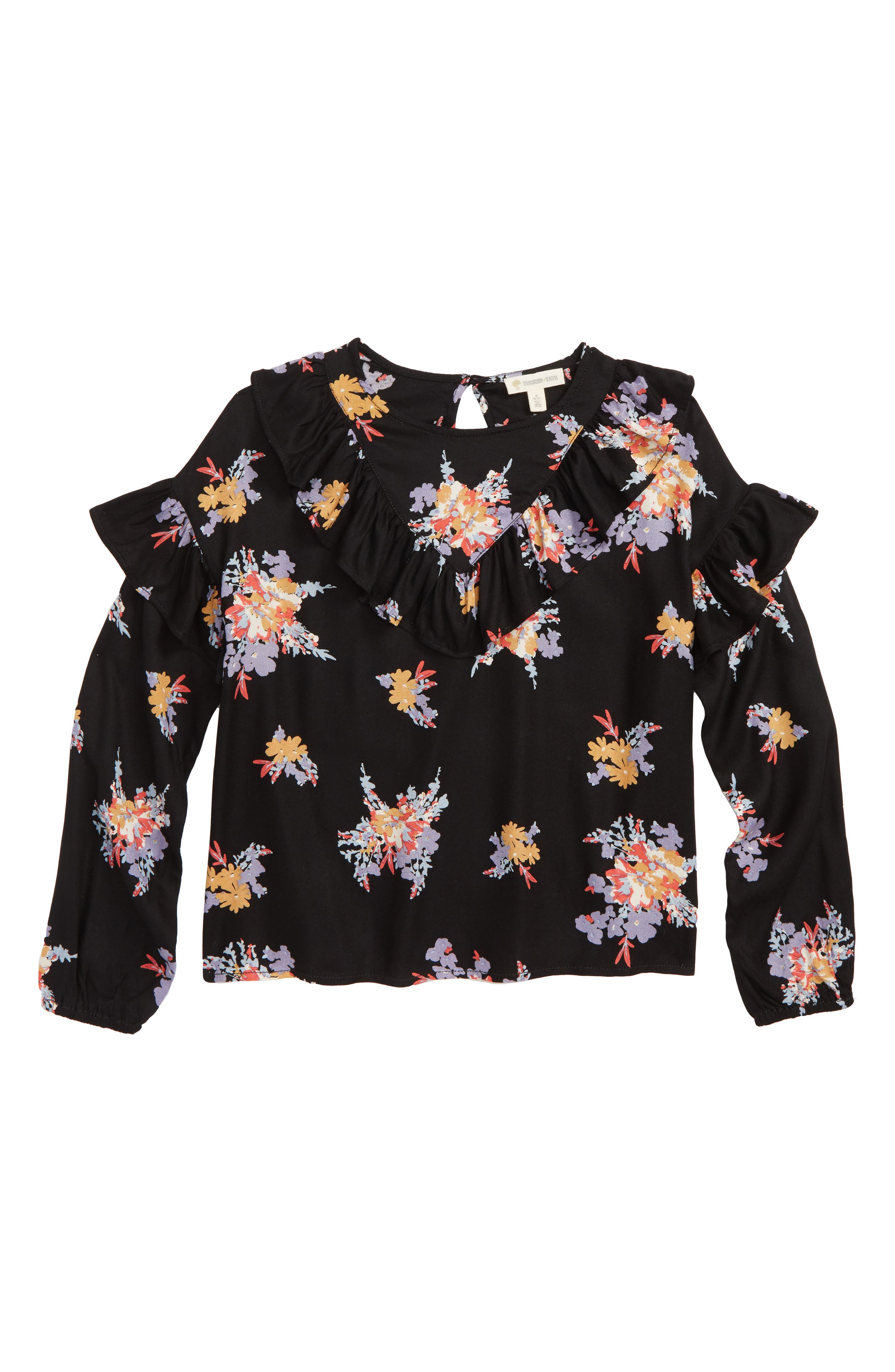Floral Print Ruffle Top,                         Main,                         color, BLACK CLUSTER FLORAL