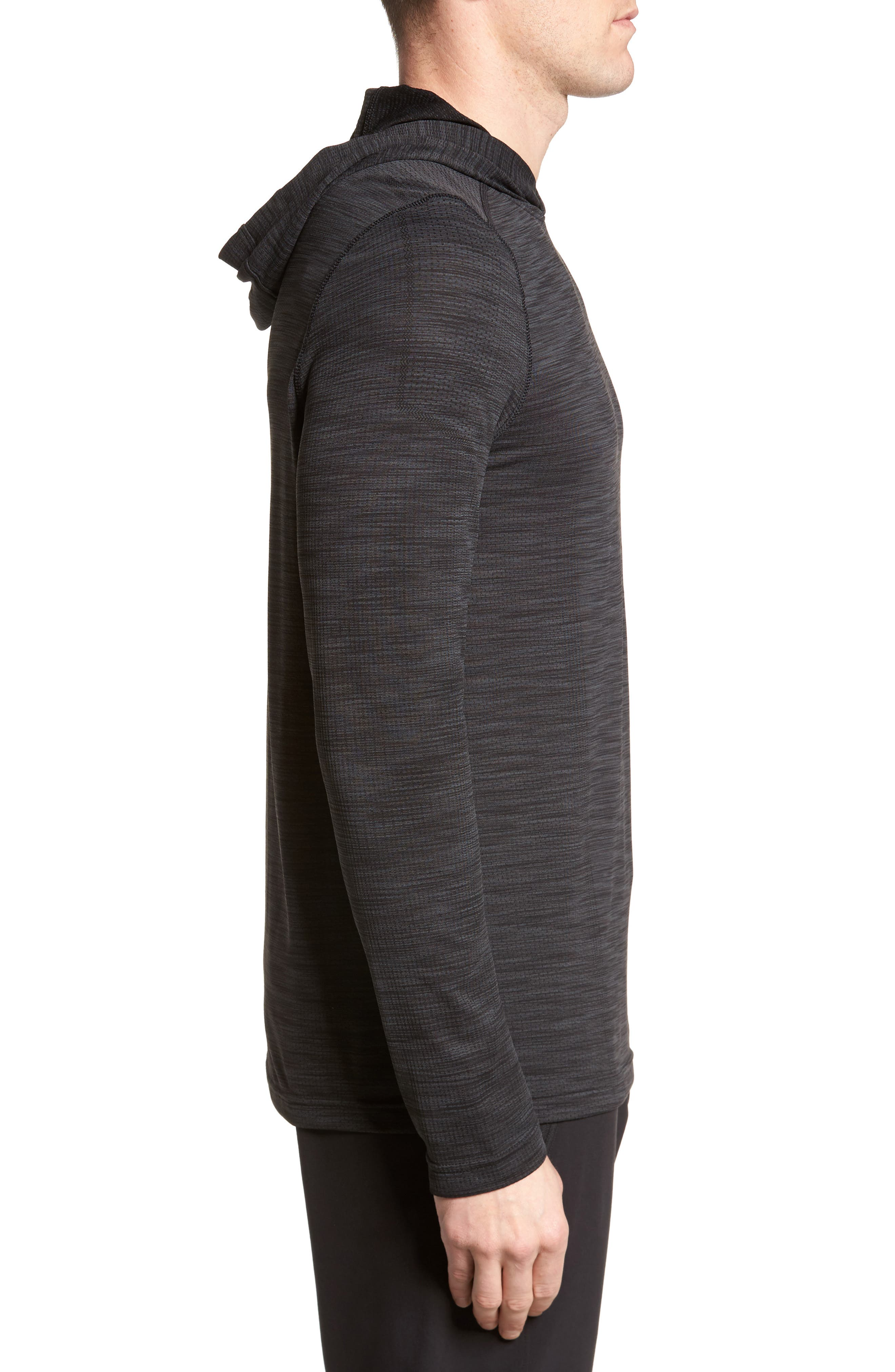 Threadbone Fitted Seamless Hoodie,                             Alternate thumbnail 3, color,                             001
