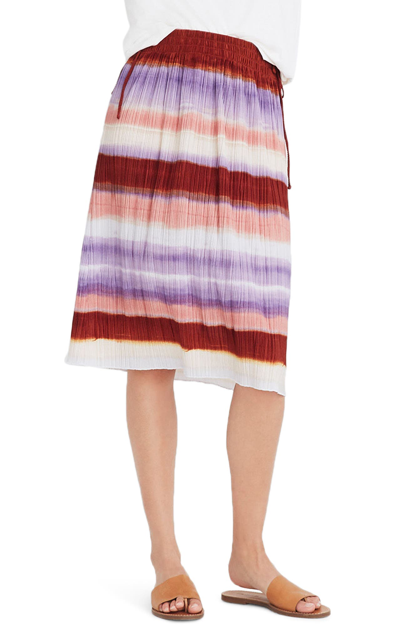 Texture & Thread Ombré Rainbow Micropleat Midi Skirt,                             Main thumbnail 1, color,                             CLEMENTINE CREAM