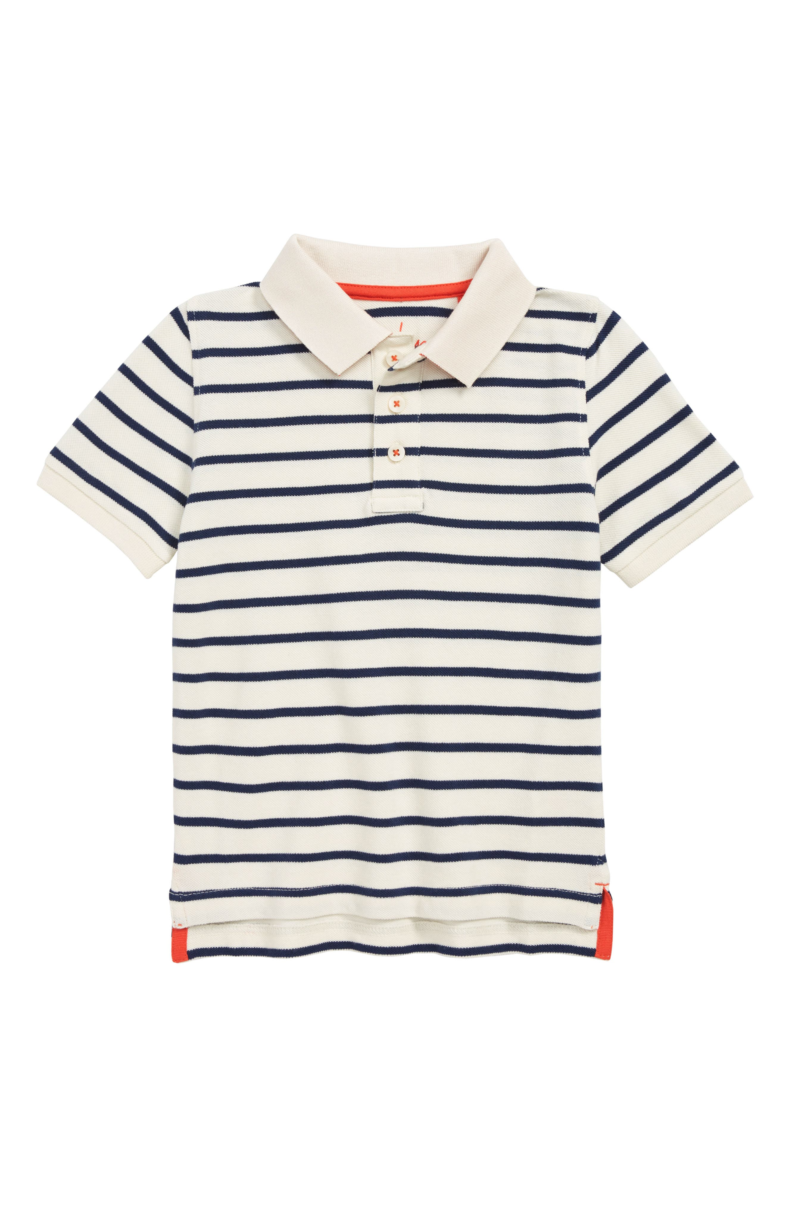 Stripe Piqué Polo, Main, color, COLLEGE BLUE/ ECRU
